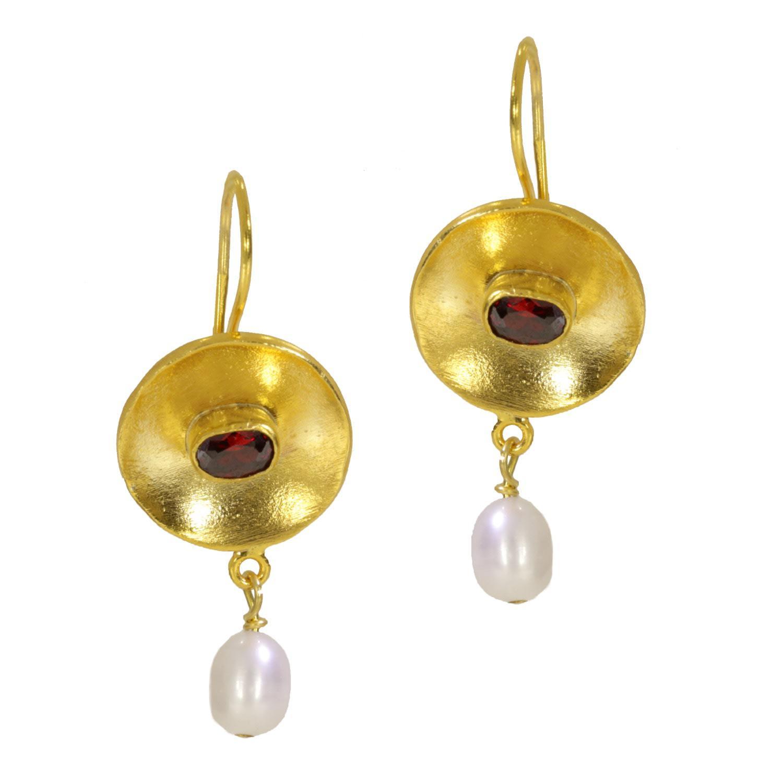 c0fa60daa Lyst - Ottoman Hands Red Crystal Disc Pearl Earrings