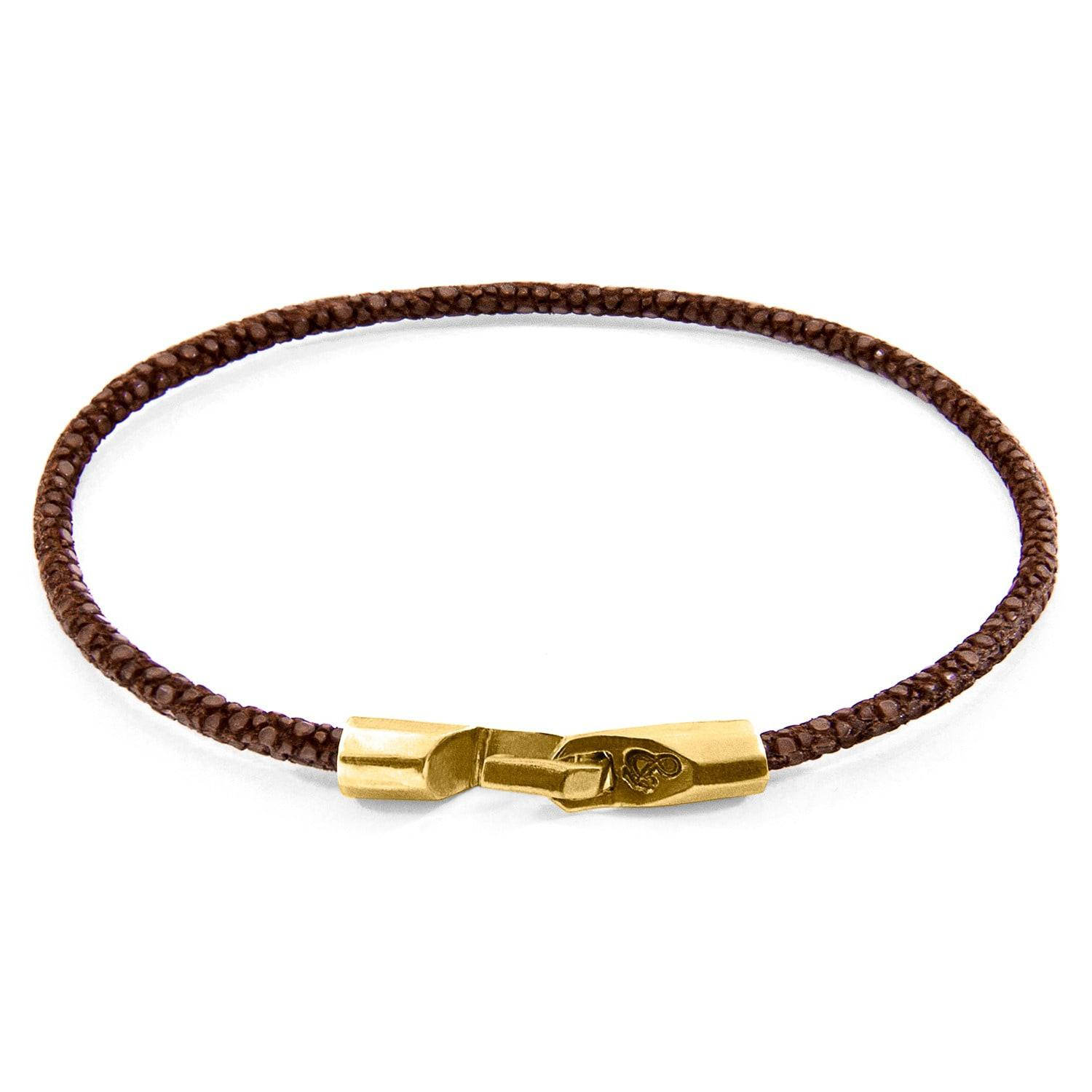 Anchor & Crew Liverpool 9kt Yellow Gold & Stingray Leather Bracelet - Shadow Grey eCkSsPZ