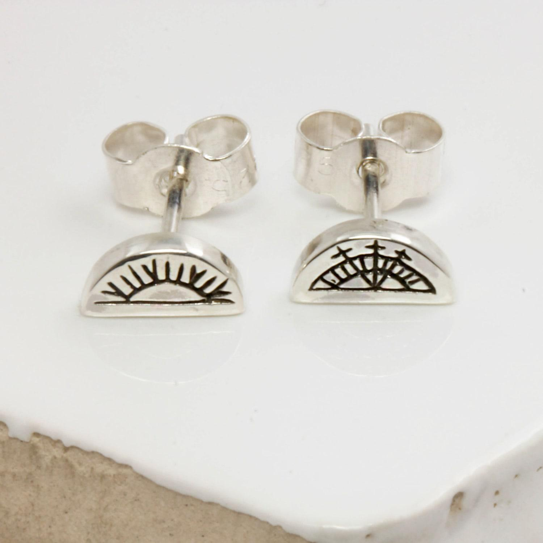 43c86fd98 No 13 Sun & Moon Half Circle Stud Earrings Silver in Metallic - Lyst