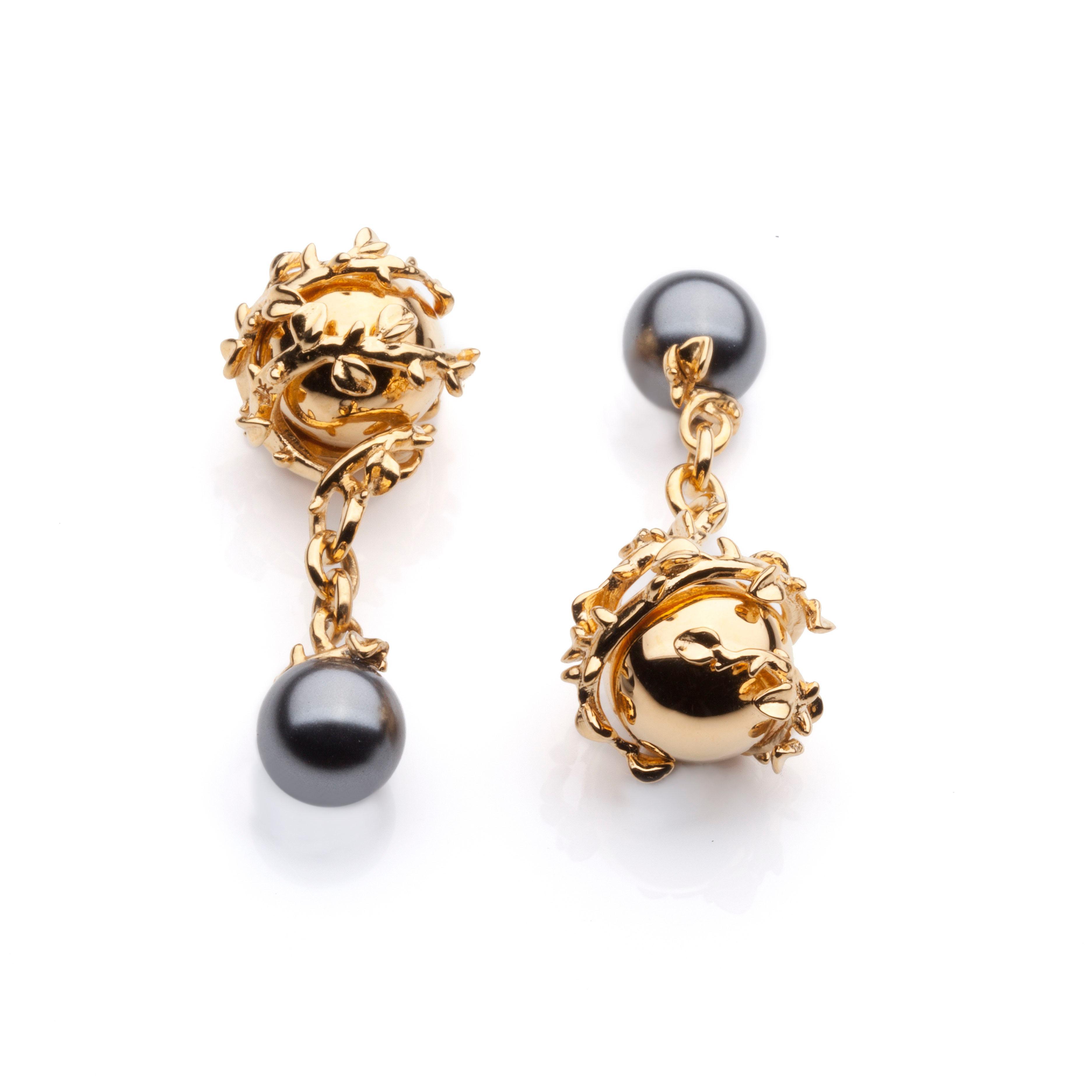 Kasun London Orb and pearl cufflinks - Metallic IV1Wjtuj