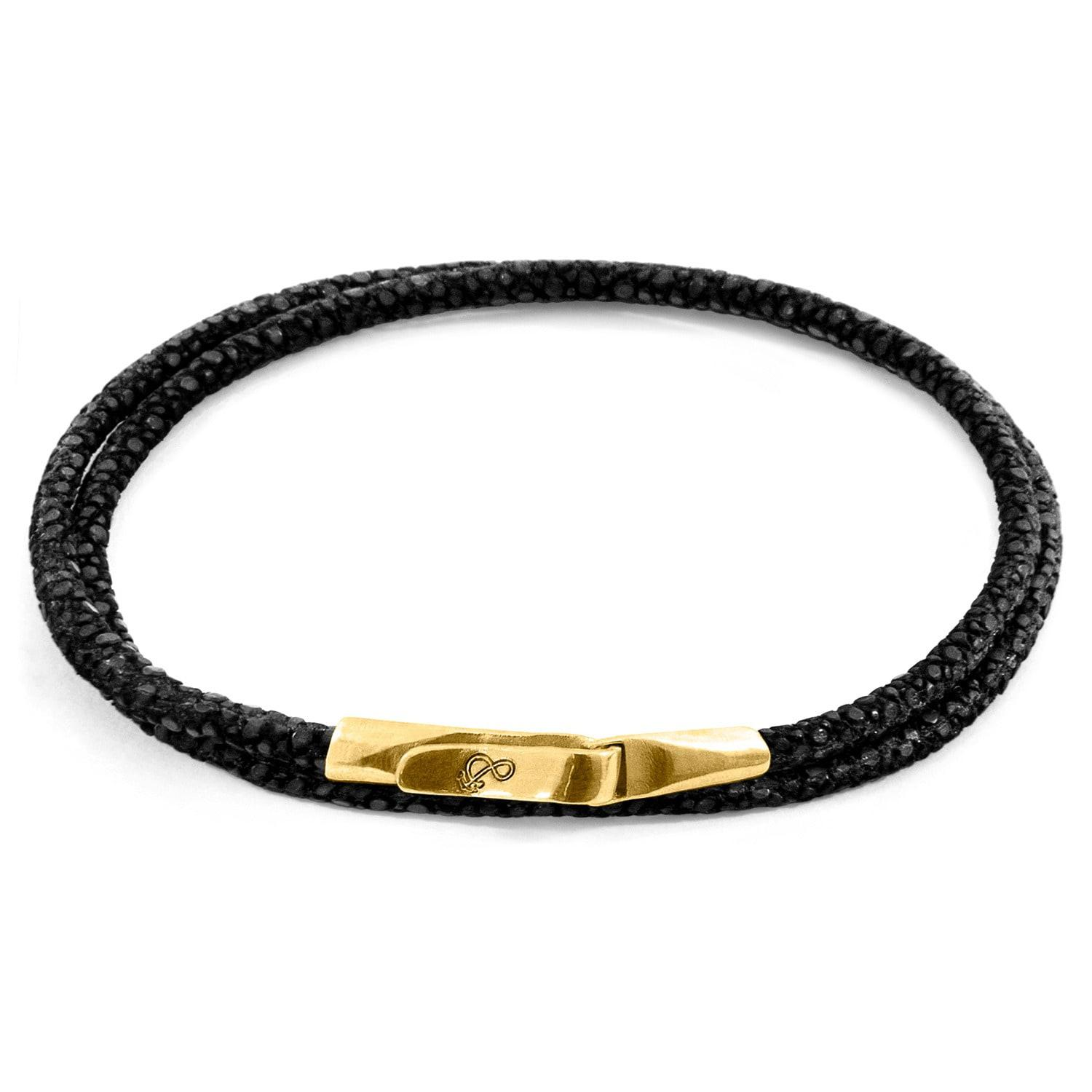 Anchor & Crew Talbot 9kt Yellow Gold & Stingray Leather Bracelet - Shadow Grey
