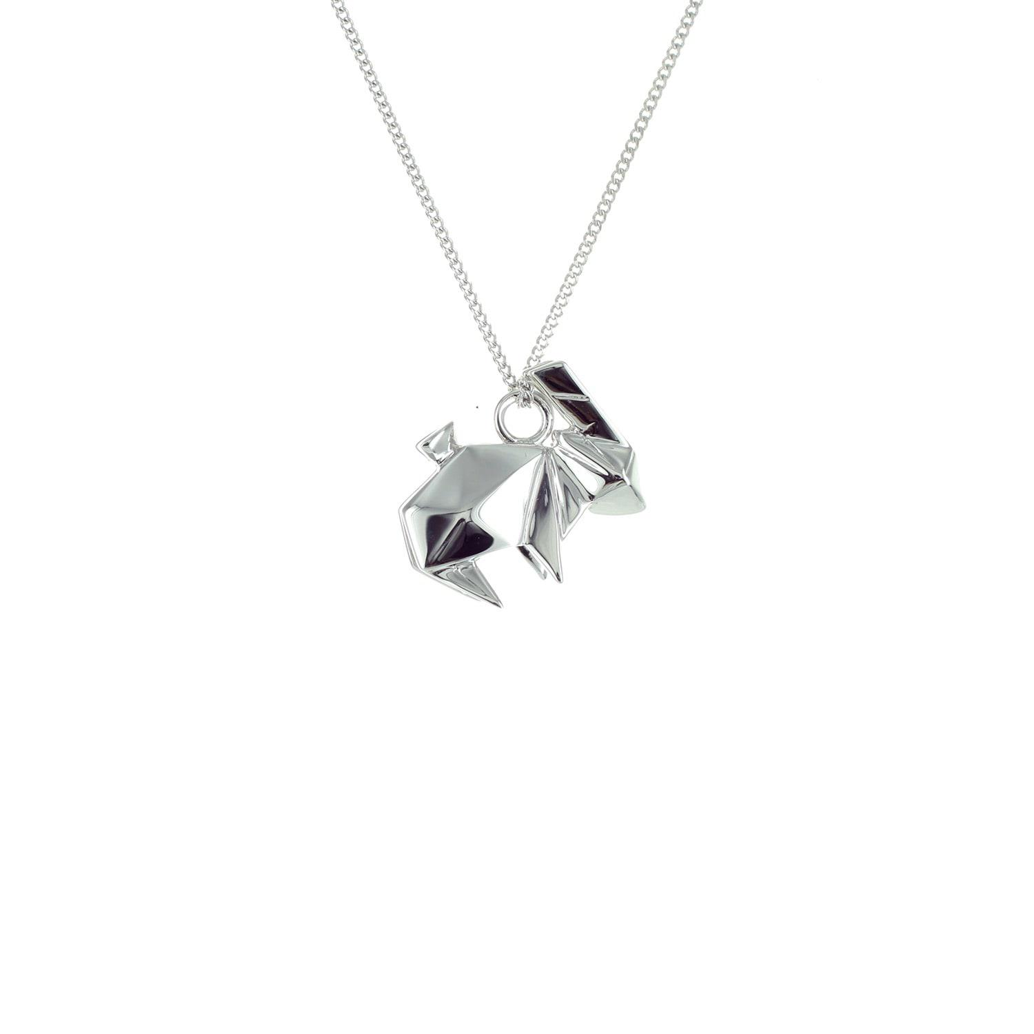 Origami Jewellery Black Silver Mini Rabbit Origami Necklace QVZsYf