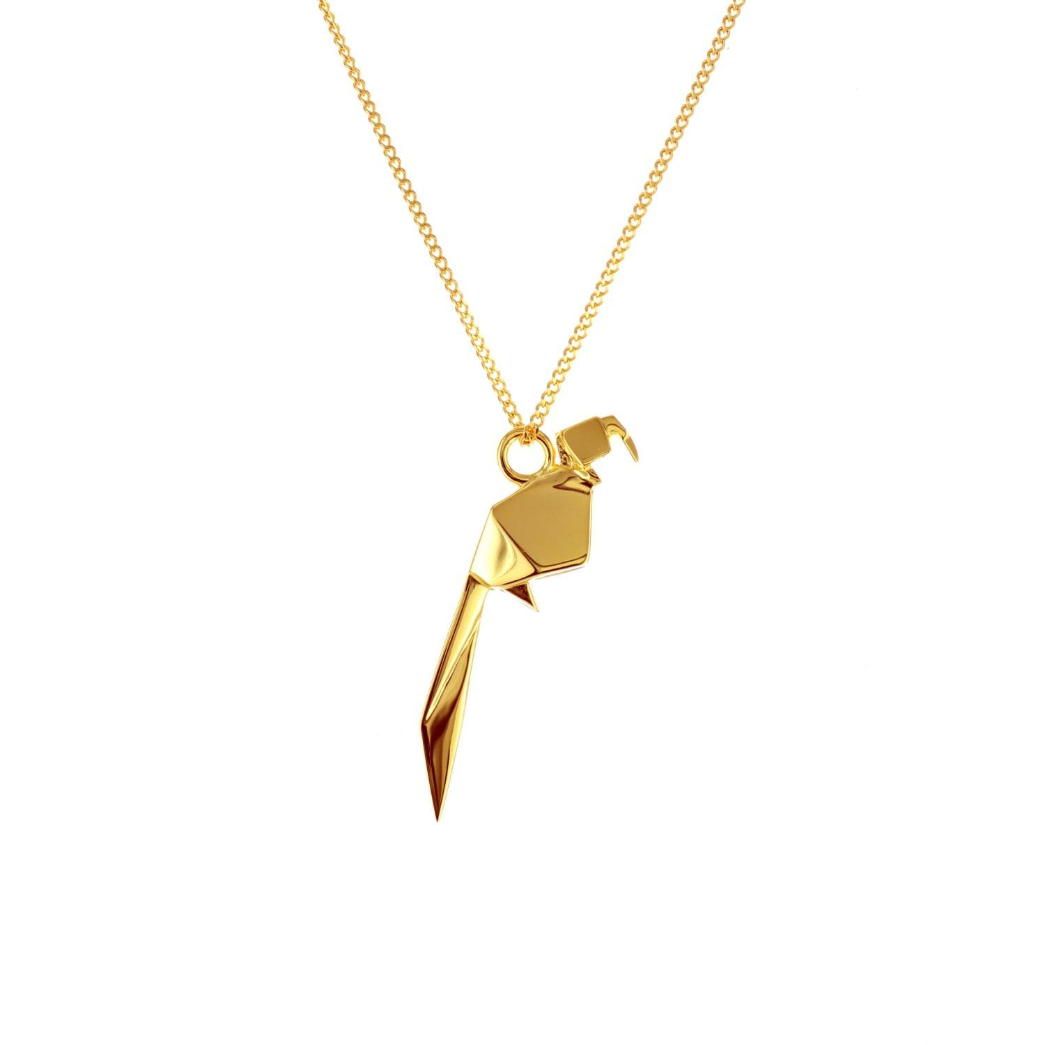 Origami Jewellery Sterling Silver Mini Parrot Origami Necklace ADBbcm