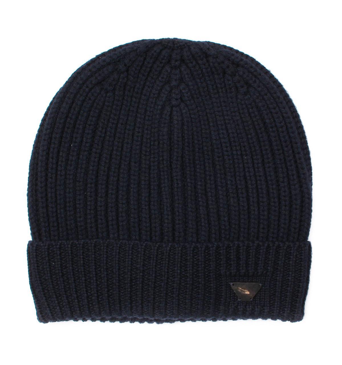 17d9de859b7d8a Armani Jeans Black Woollen Rib Knit Beanie Hat in Black for Men - Lyst