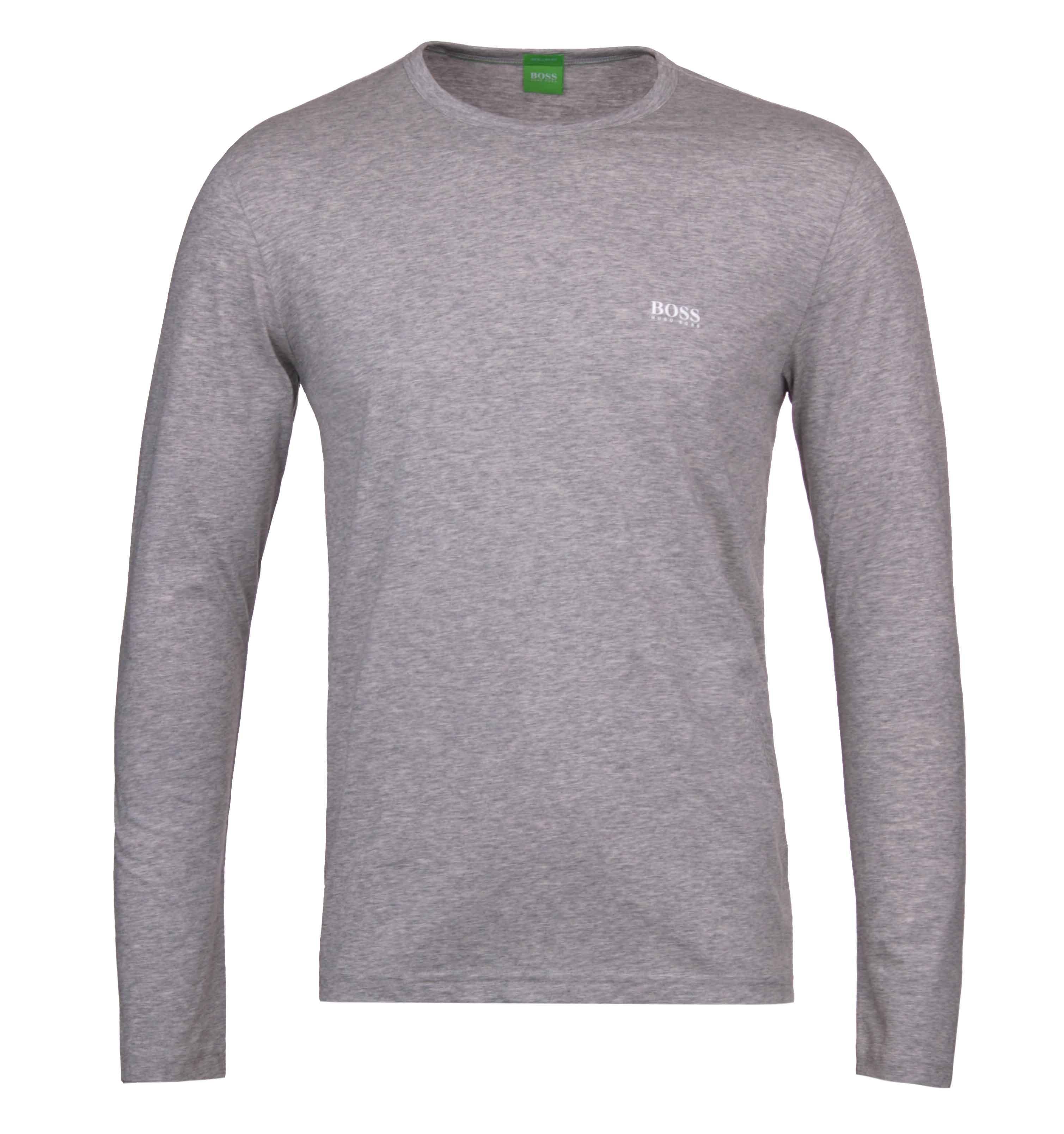 Lyst boss green togn grey marl long sleeve t shirt in for Grey marl t shirt