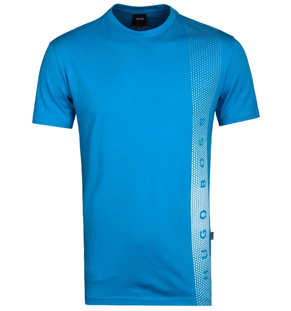 Boss rn sun protection aqua blue white jersey slim fit t for Aqua blue mens dress shirt