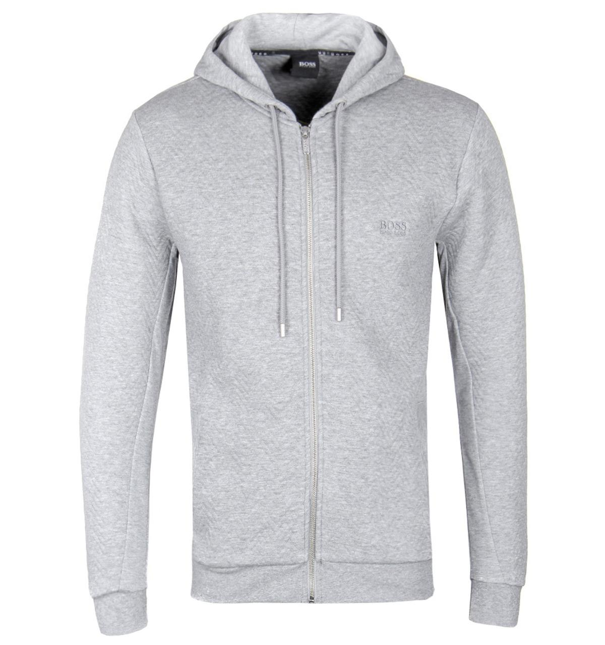 67ae37802a9 Lyst - BOSS by Hugo Boss Light Grey Quilted Contemp Hoodie in Gray ...