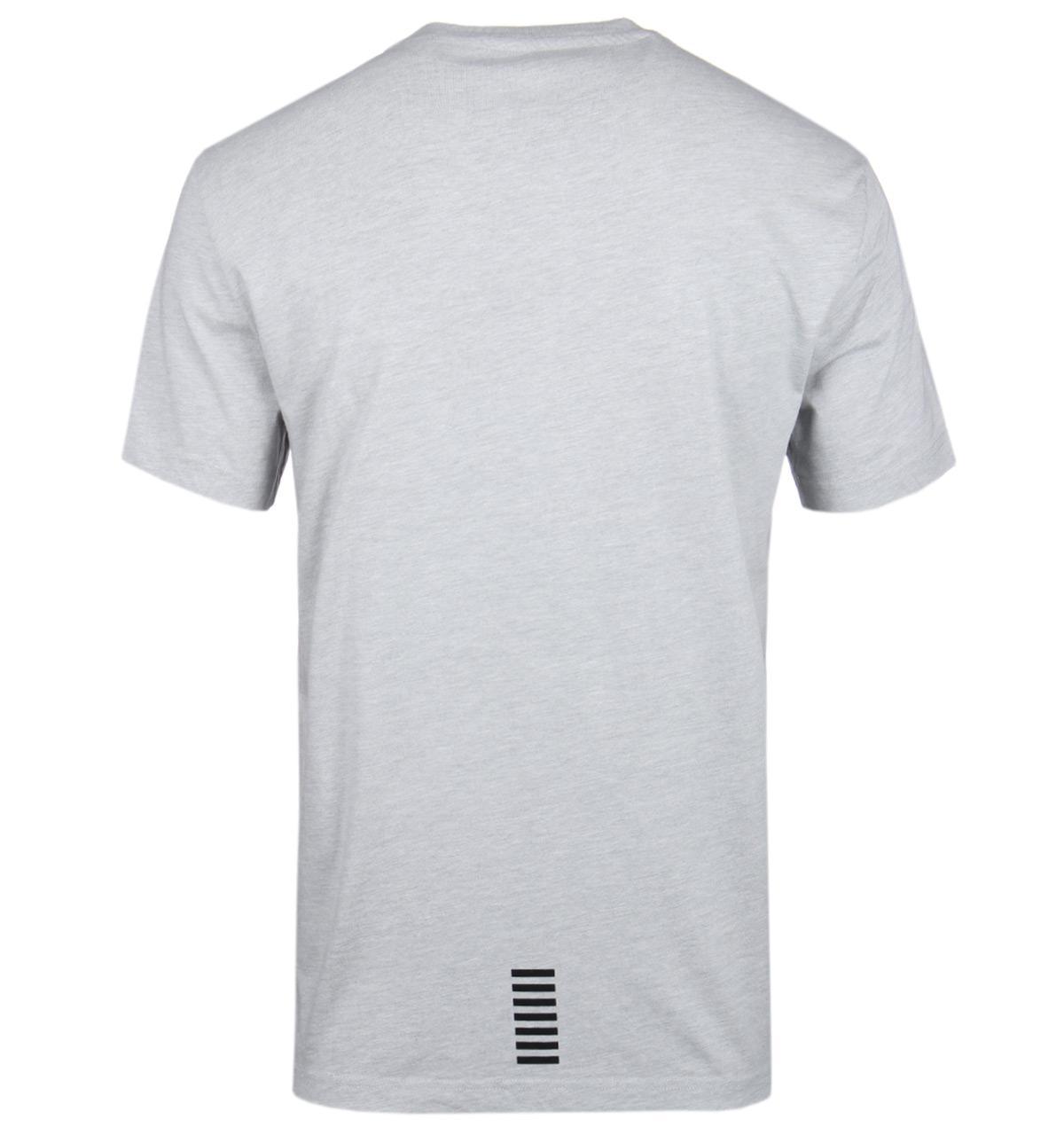6788a77d4 EA7 Light Grey Melange Iconic Logo Crew Neck T-shirt in Gray for Men ...