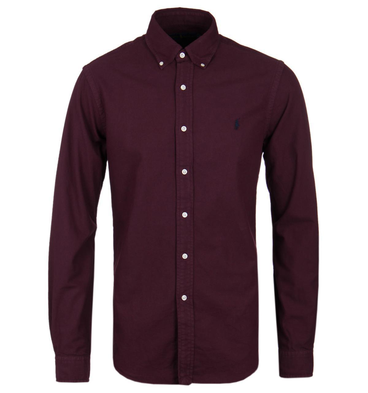 Polo ralph lauren ralph lauren burgundy long sleeve oxford for Long sleeve purple polo shirt