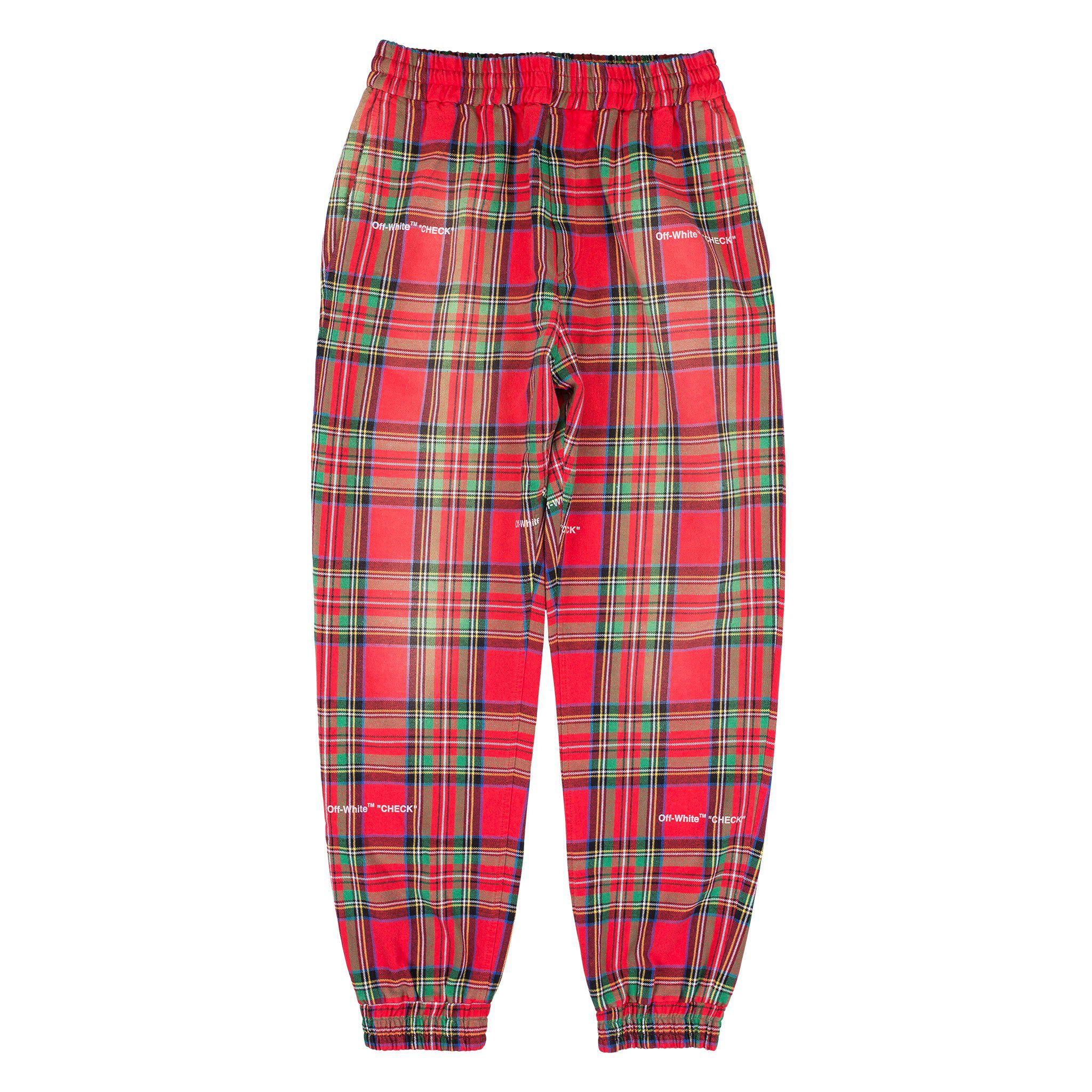 39cceaa1b9ca Lyst - Off-White c o Virgil Abloh Red Check Sweatpants in Red