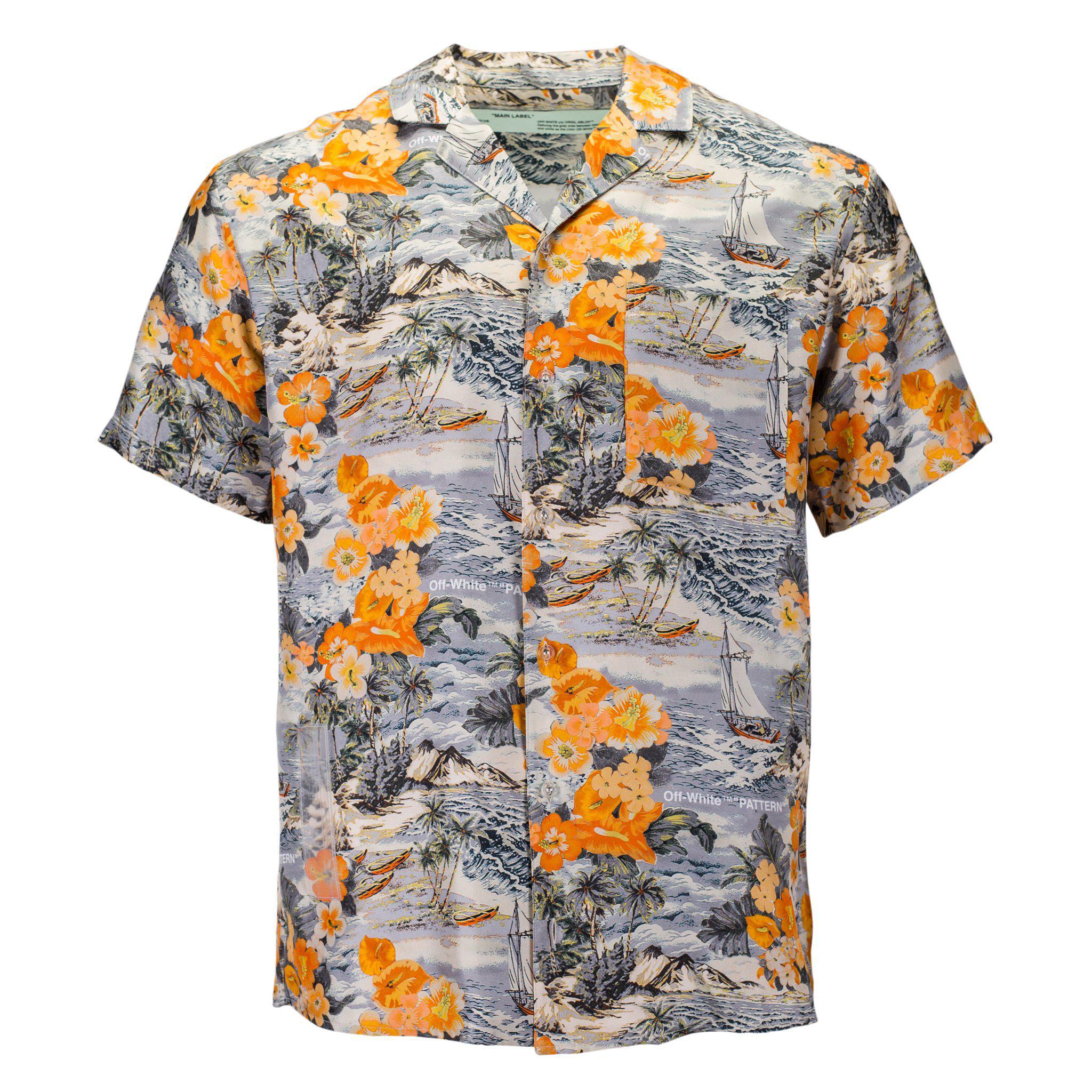 1287d472c8 Lyst - Off-White c o Virgil Abloh Silk Hawaiian Shirt in Orange for Men