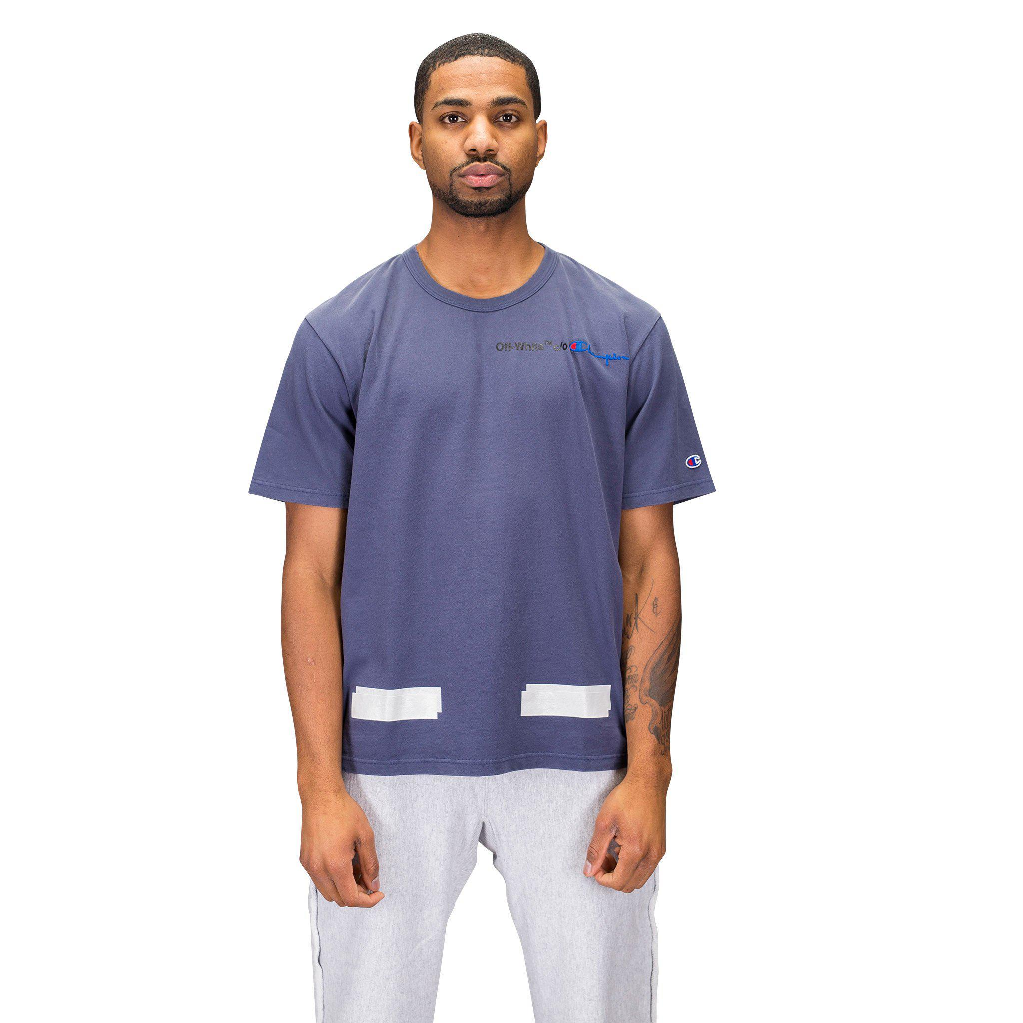 43efdd6f Off-White c/o Virgil Abloh Champion T-shirt in Blue for Men - Lyst
