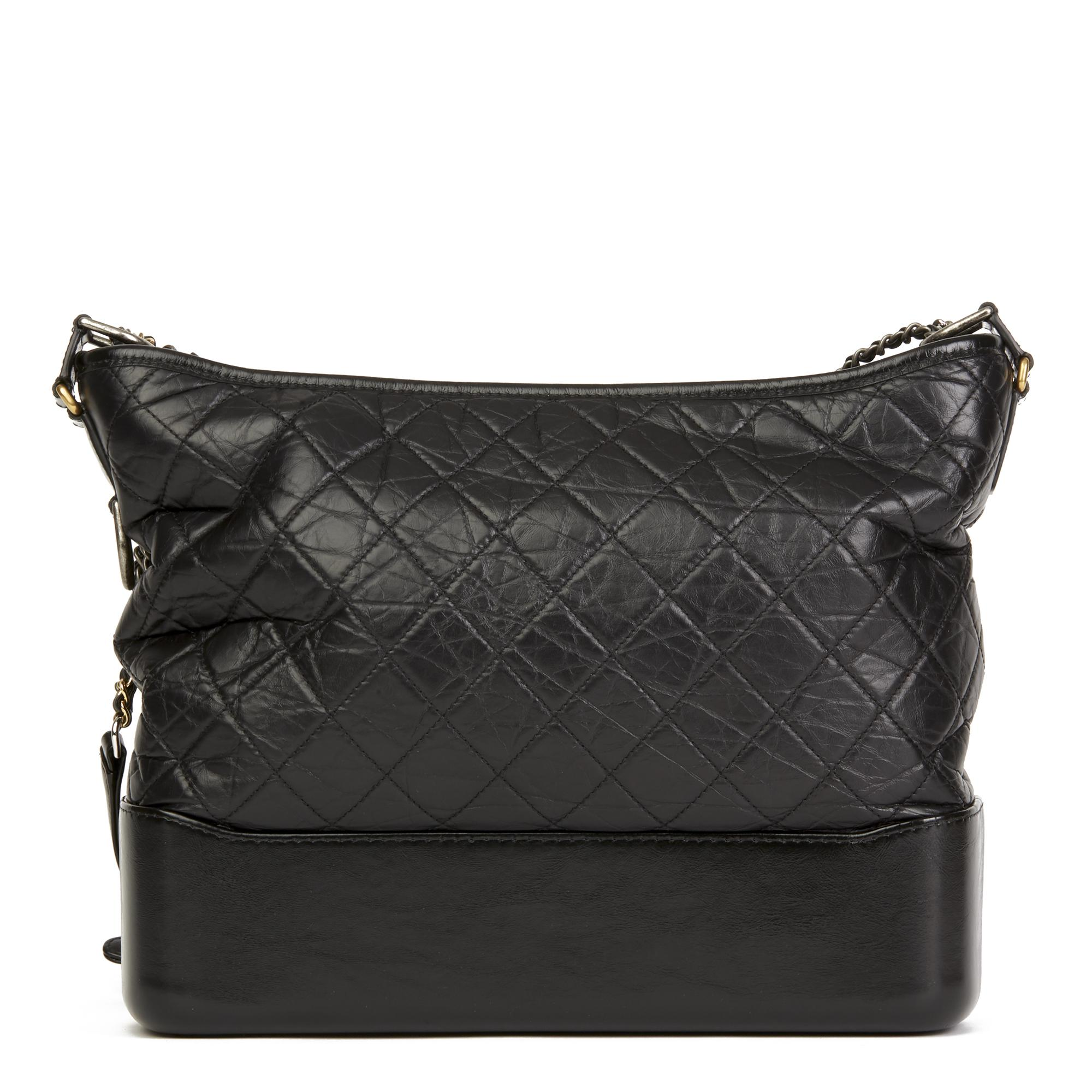 ae11c576d01e Chanel. Women's Black Quilted Aged Calfskin Leather Large Gabrielle Hobo Bag