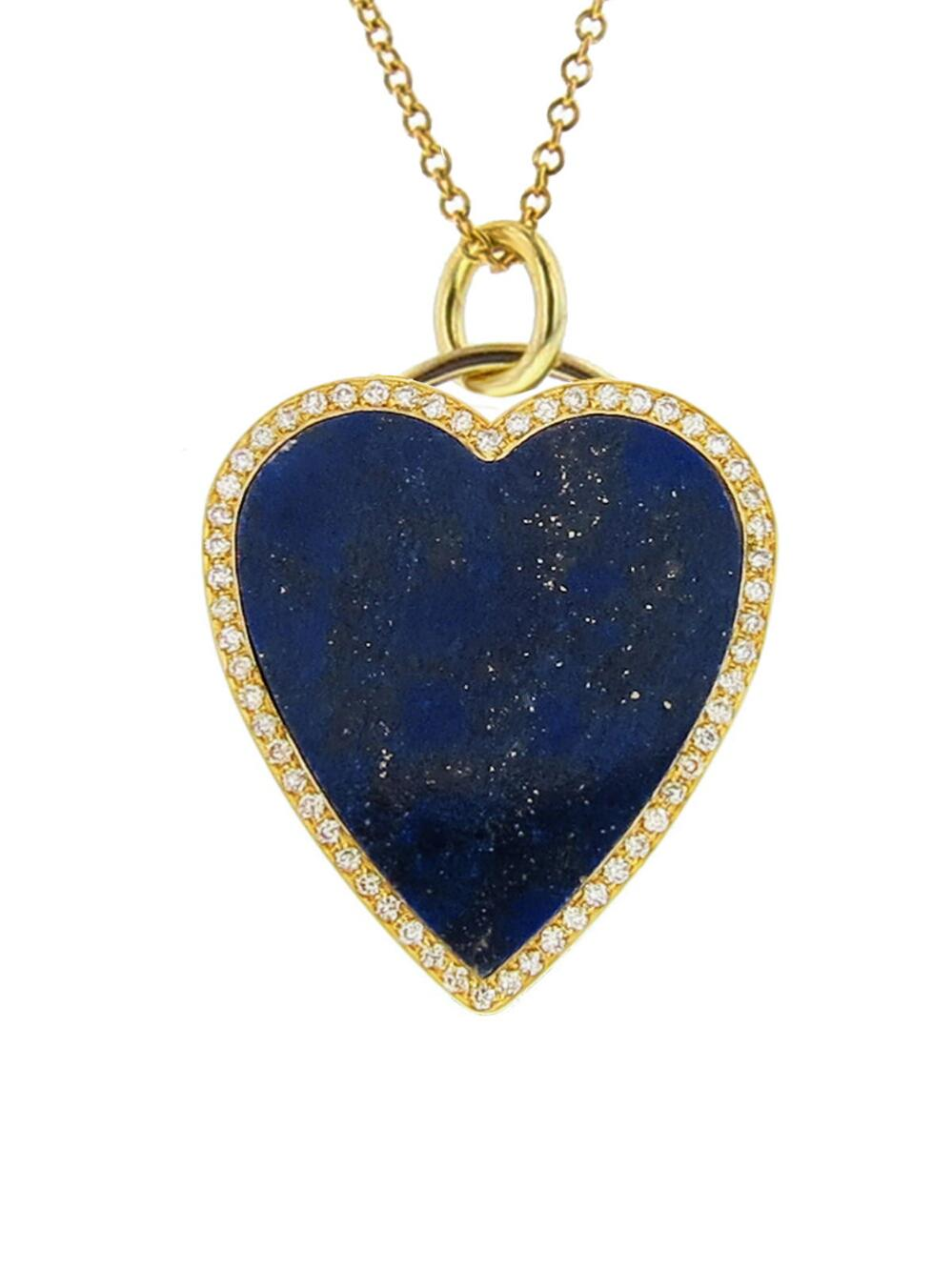 Jennifer Meyer Womens Lapis Inlay & Diamond Heart Necklace 0MiAL06gYK