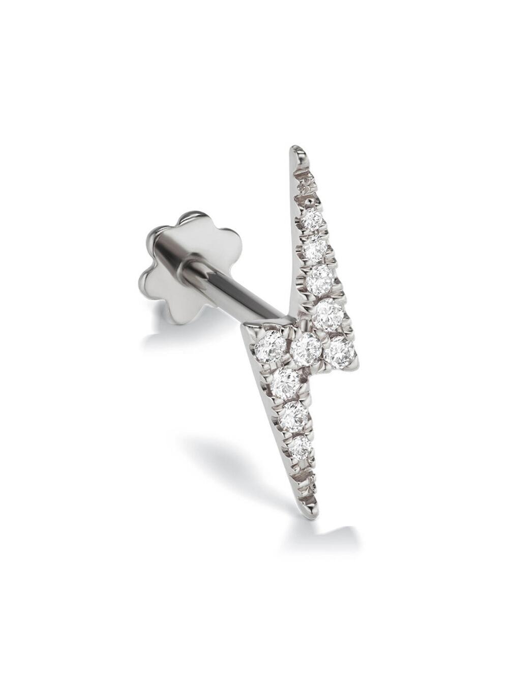 Maria Tash Multicolor 11mm Diamond Lighting Bolt Thread Through Single Earring