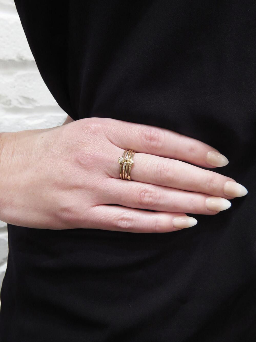 Lyst - N+A New York Tiny Triple Diamond Bead Ring