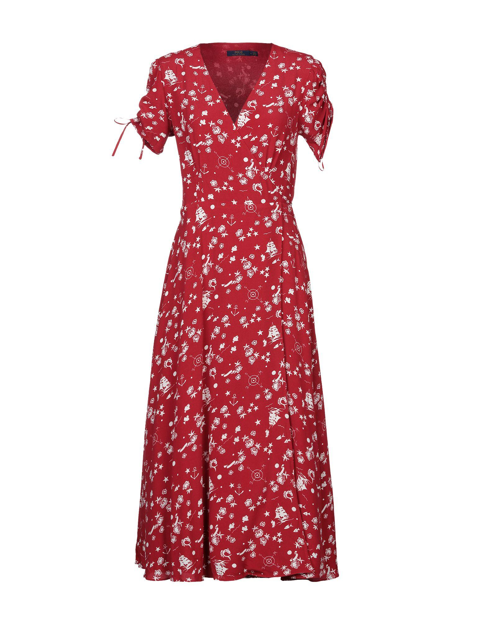 3ca3b2c7bfb Polo Ralph Lauren Print Crepe Wrap Dress in Red - Save 57% - Lyst