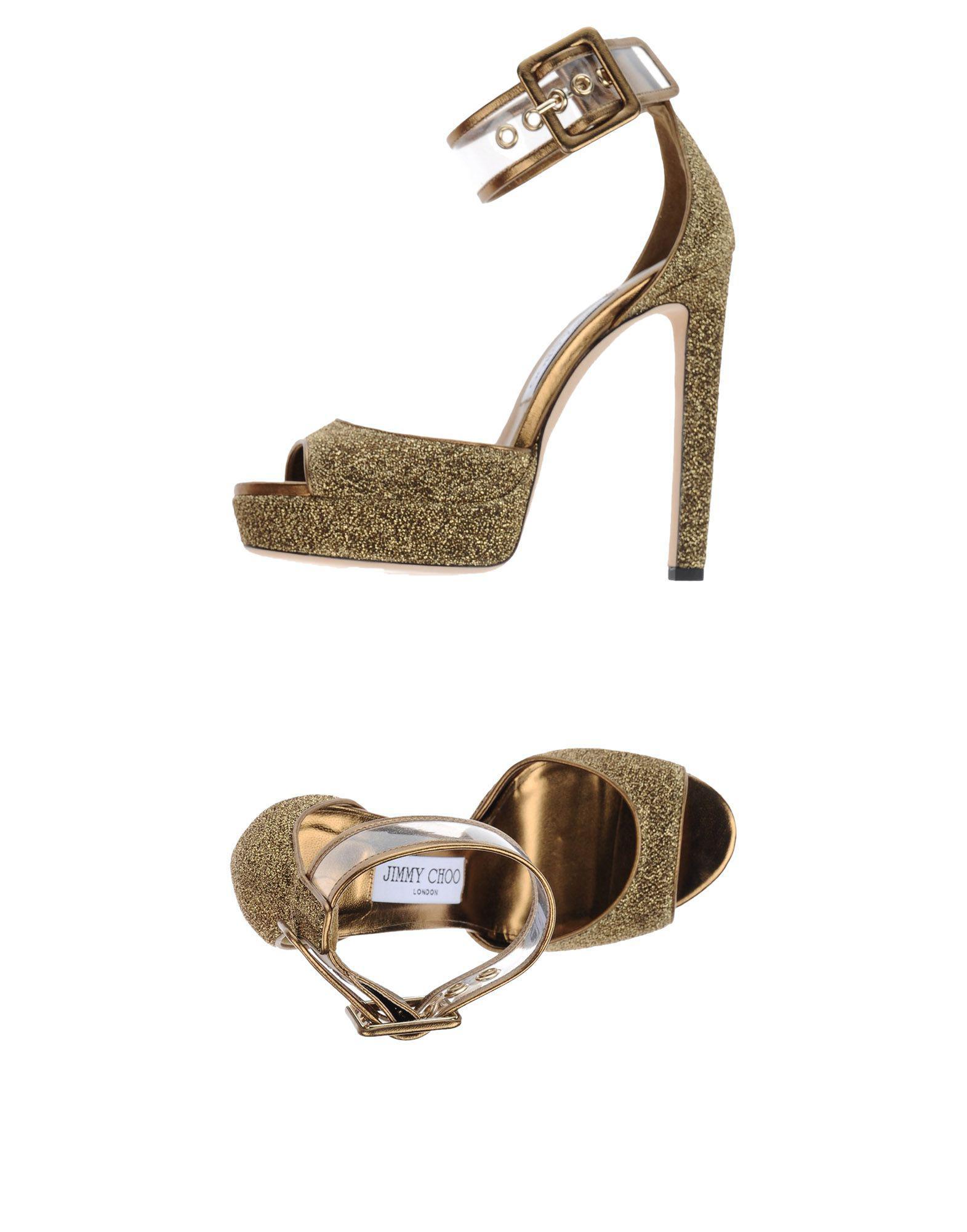 c1ba9742e149 Jimmy Choo Mayner Glitter   Pvc Platform Sandals in Metallic - Lyst