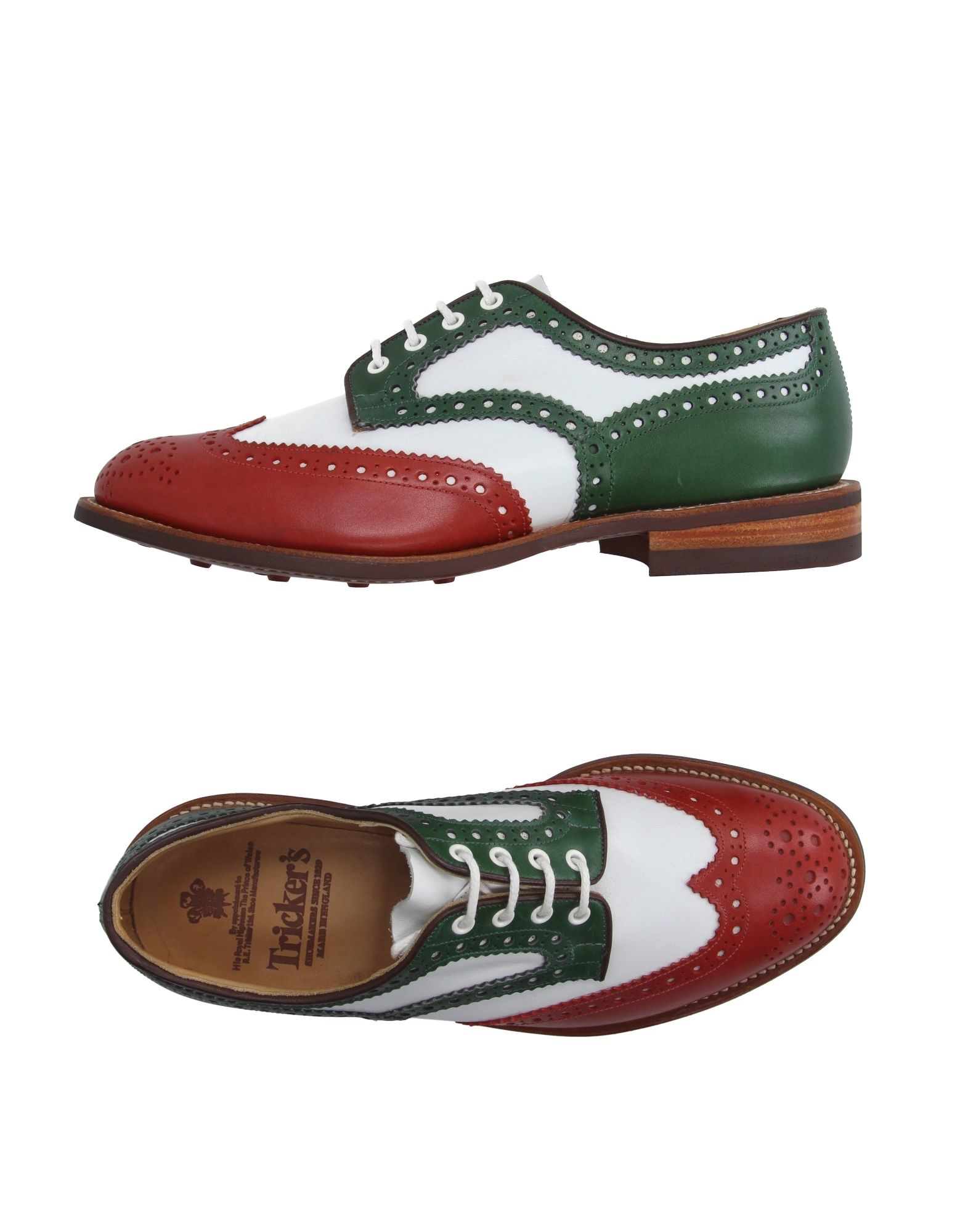 tricker s lace up shoes in green for lyst