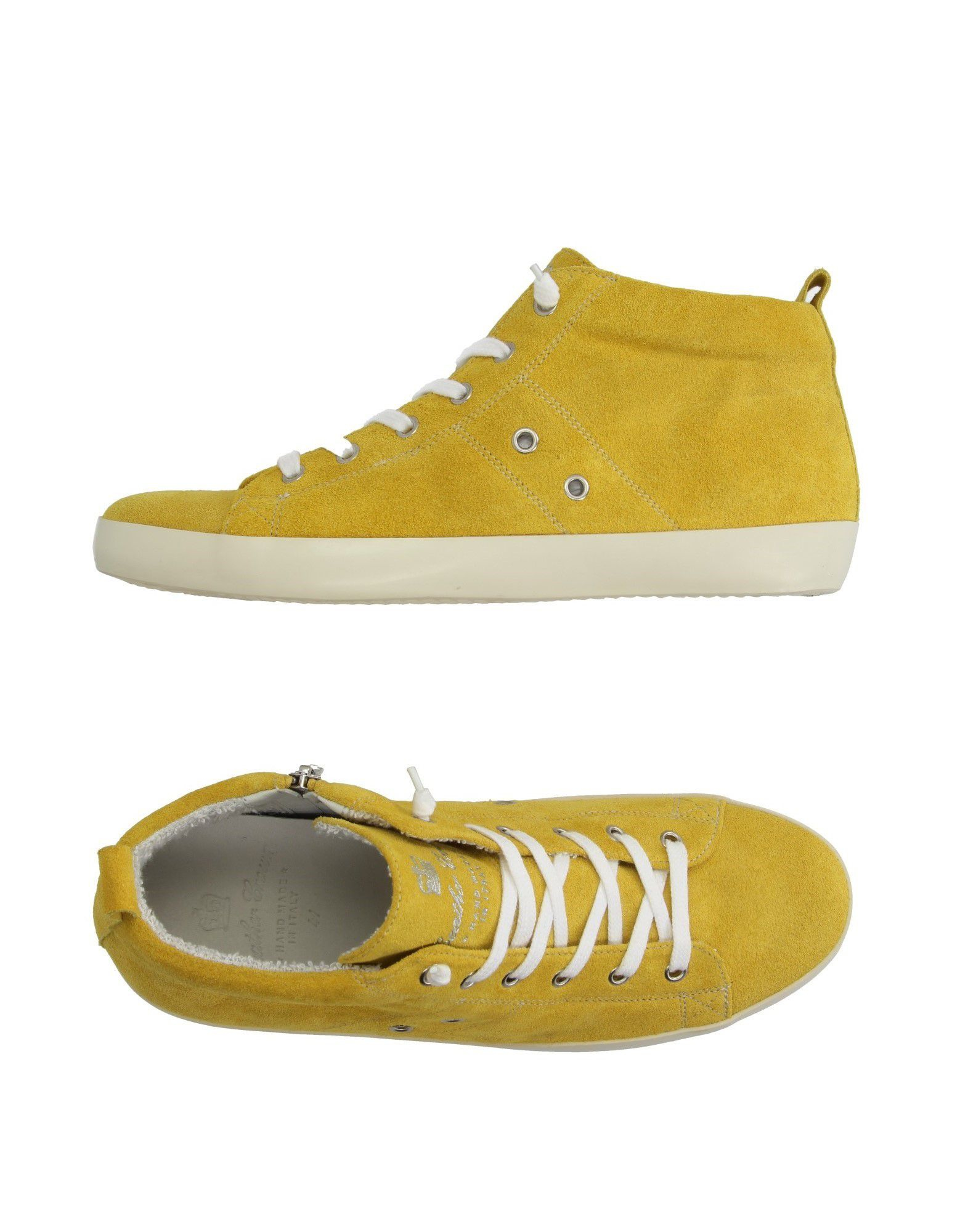 leather crown high tops trainers in yellow lyst