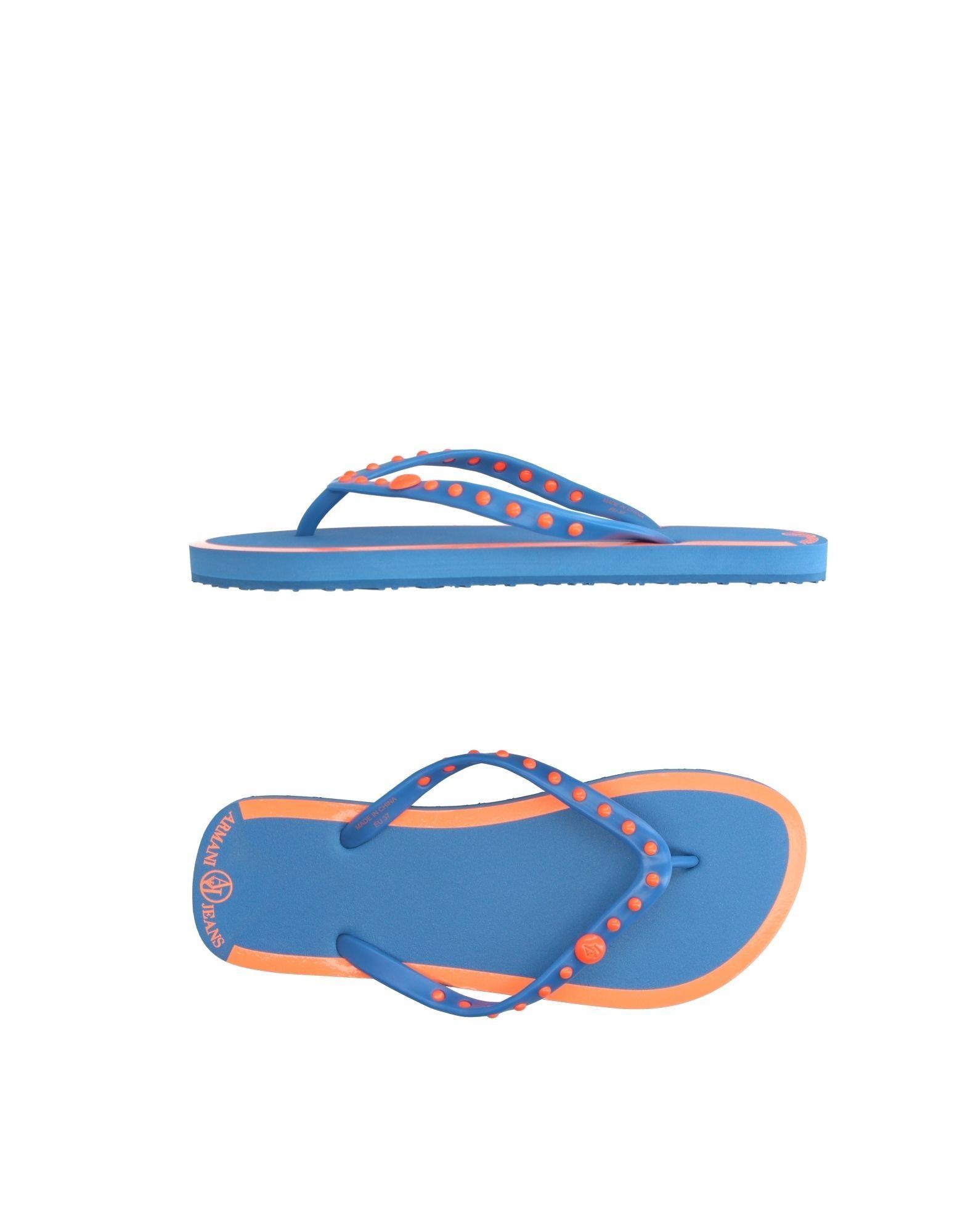 Lyst Armani Jeans Toe Strap Sandal In Blue