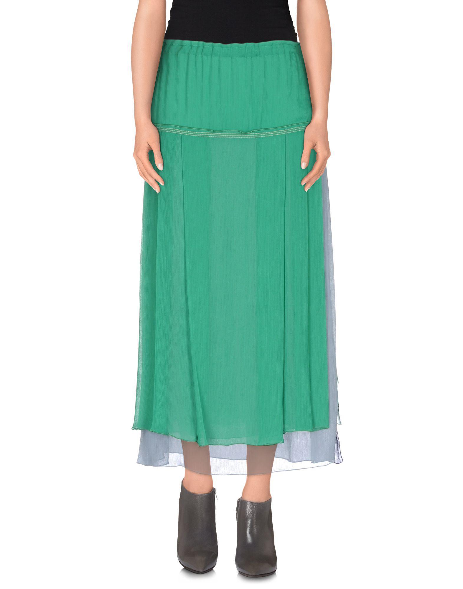 Green Knee Length Skirt