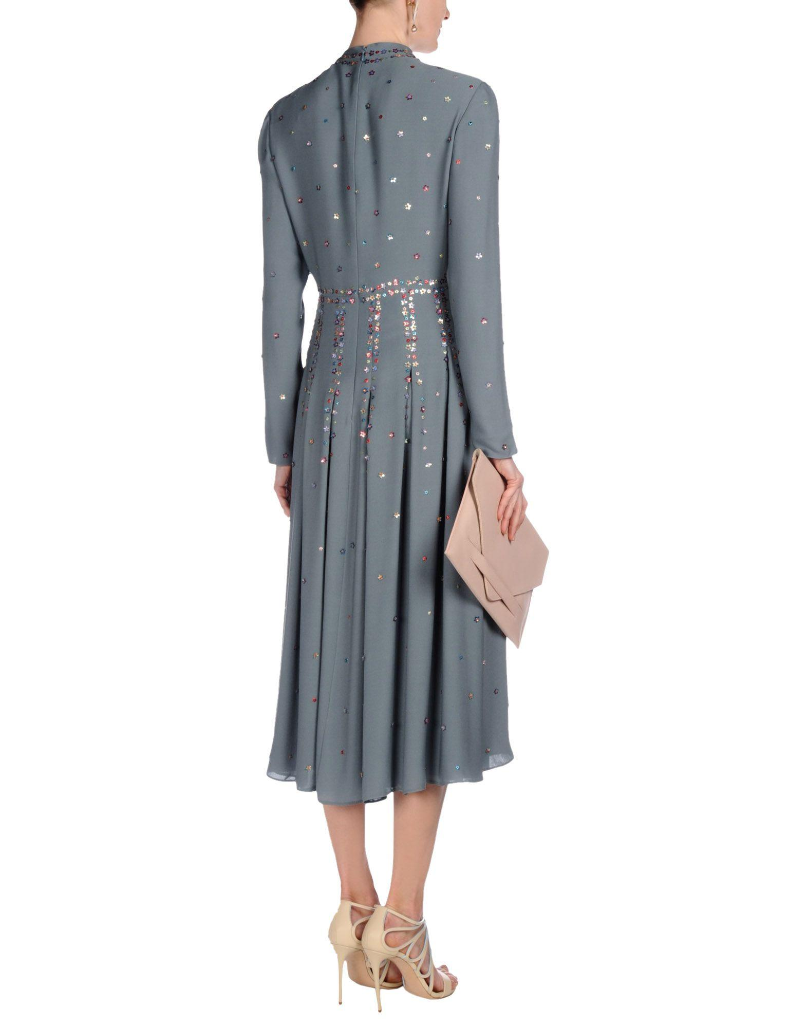 Valentino 3 4 length dress in blue lyst for 20 34 35 dress shirts