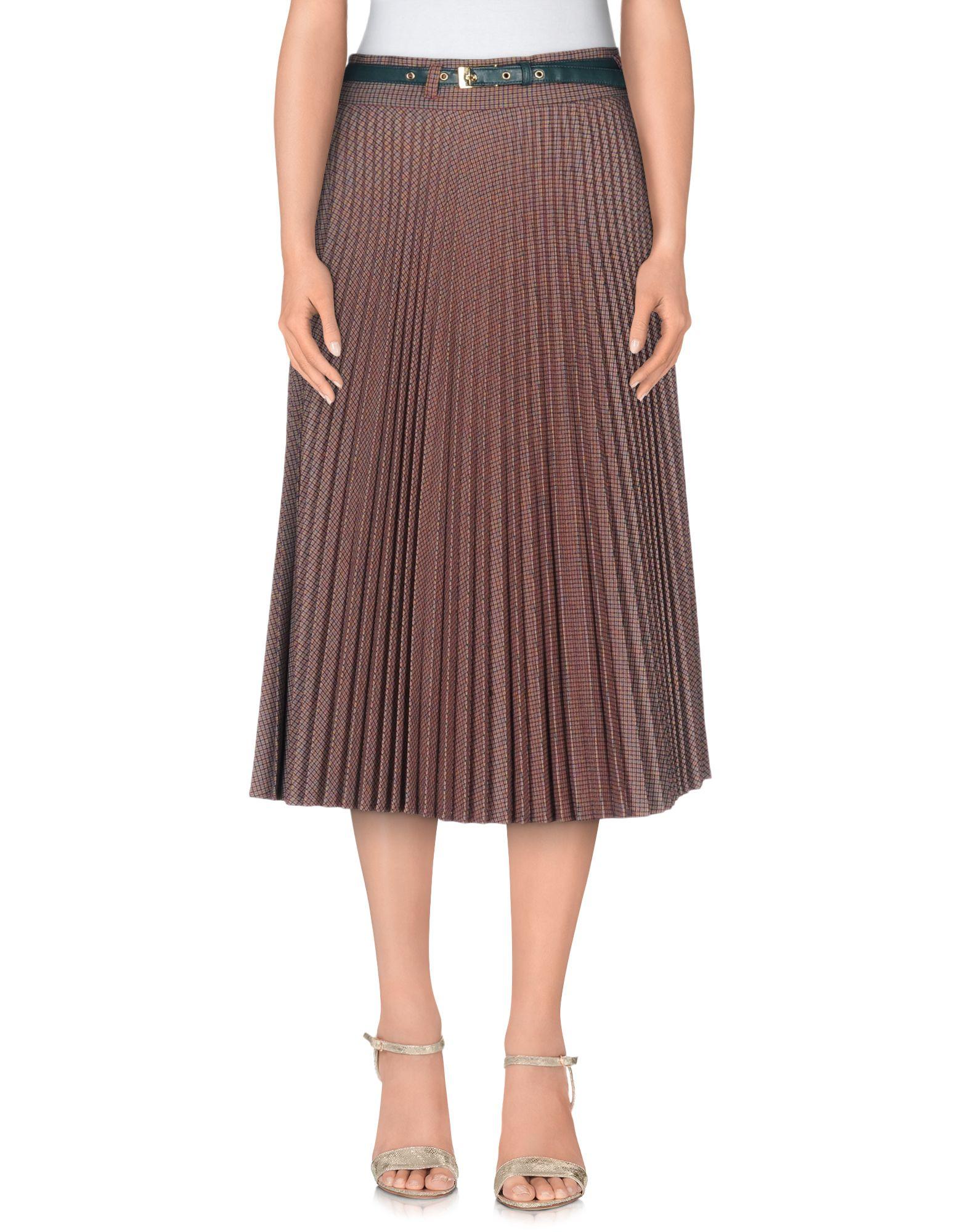 Lyst Mariagrazia Panizzi 3 4 Length Skirt In Brown