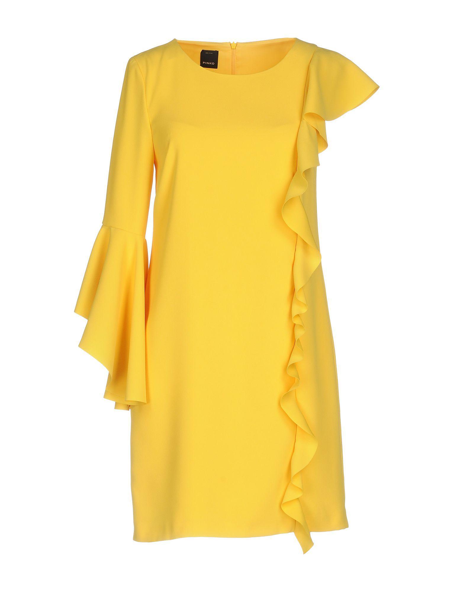 55f2068bfaa Pinko - Yellow Short Dress - Lyst. View fullscreen