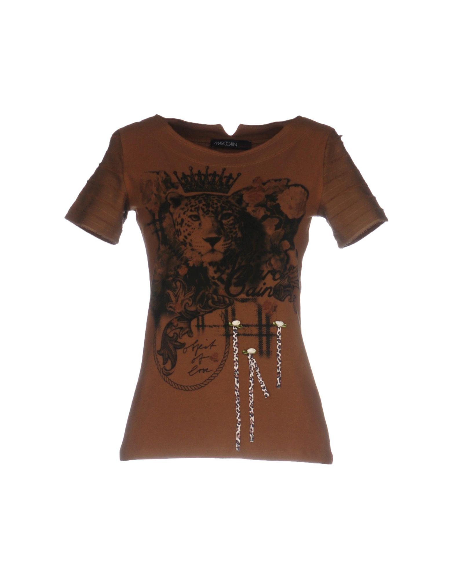 lyst marc cain t shirt in brown. Black Bedroom Furniture Sets. Home Design Ideas