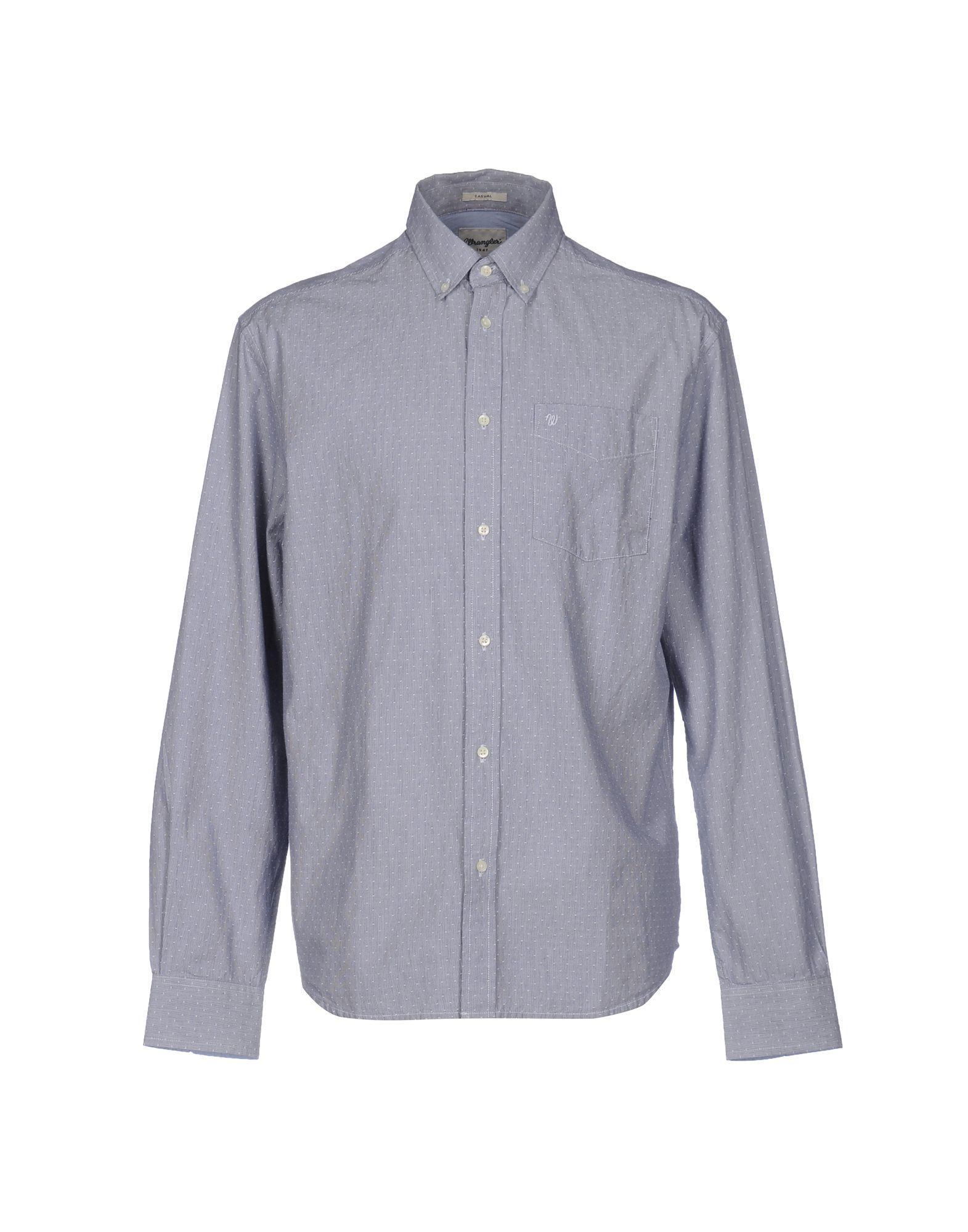Wrangler shirt in blue for men lyst for Wrangler denim shirts uk
