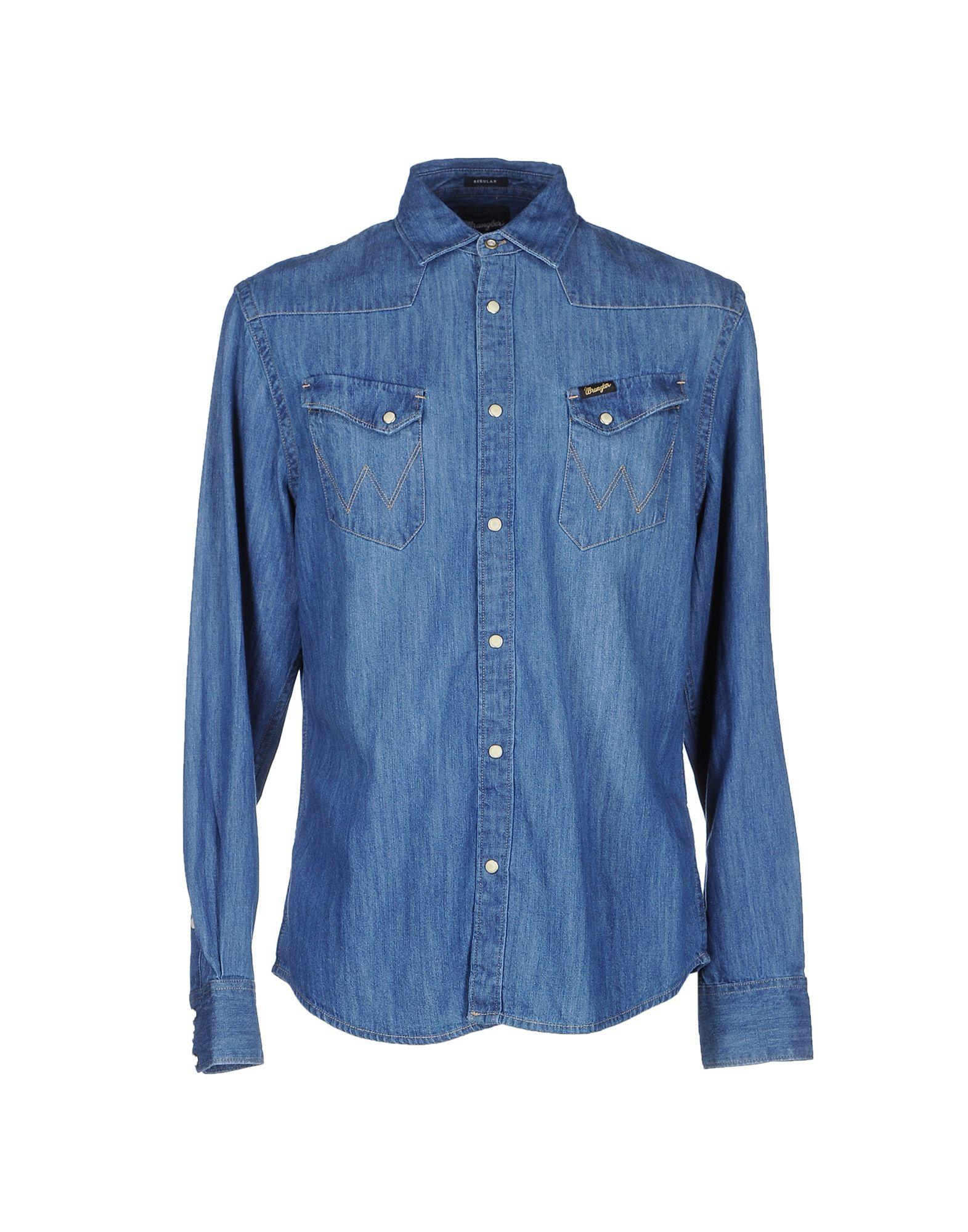 Lyst wrangler denim shirt in blue for men for Wrangler denim shirts uk