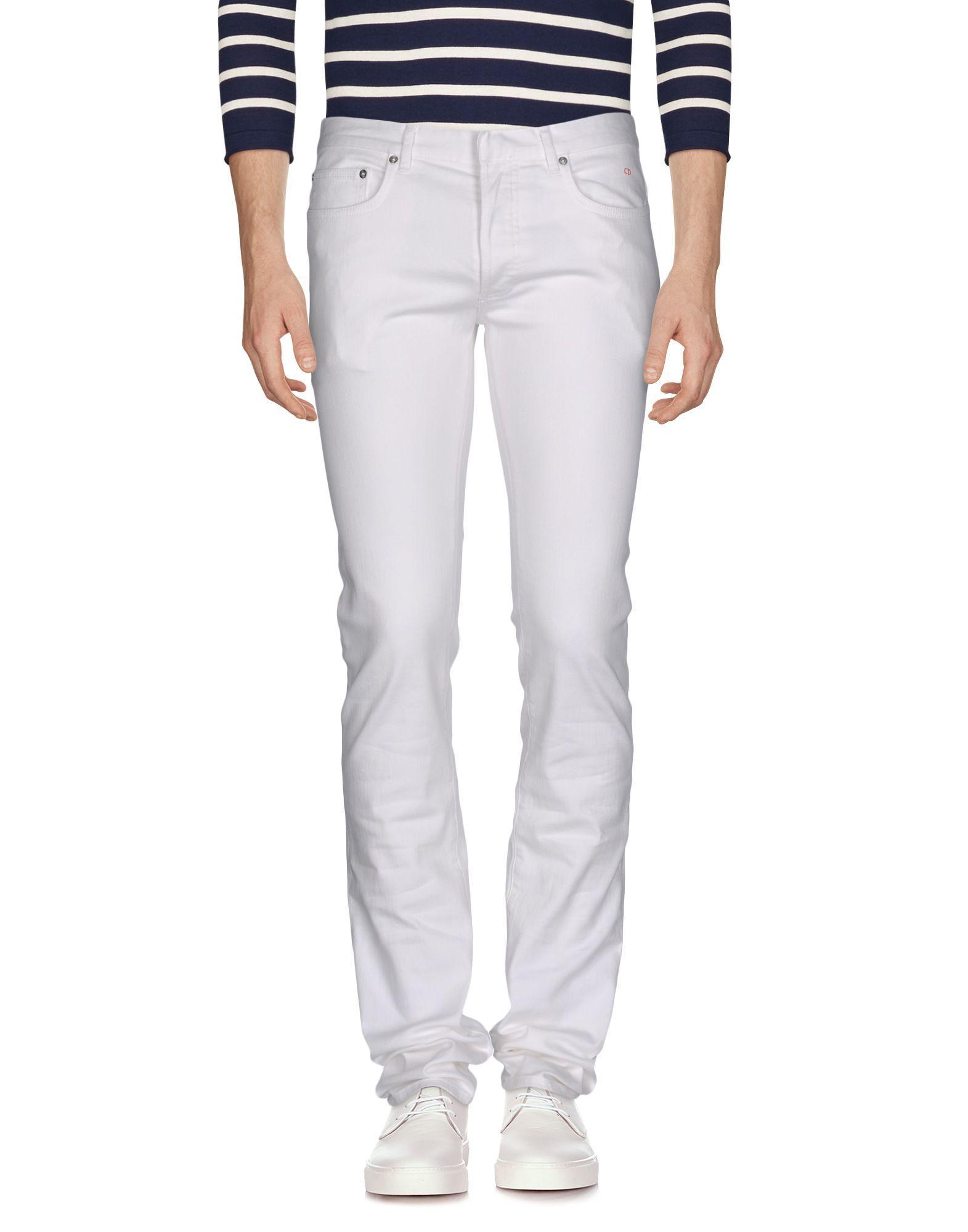 dior homme denim pants in white for men lyst. Black Bedroom Furniture Sets. Home Design Ideas