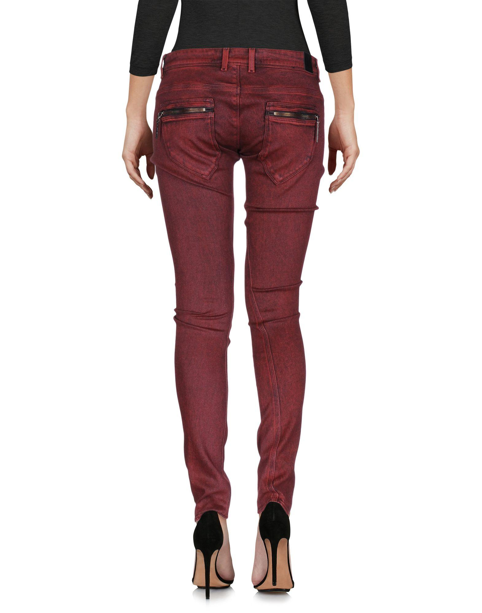 guess denim pants in red lyst