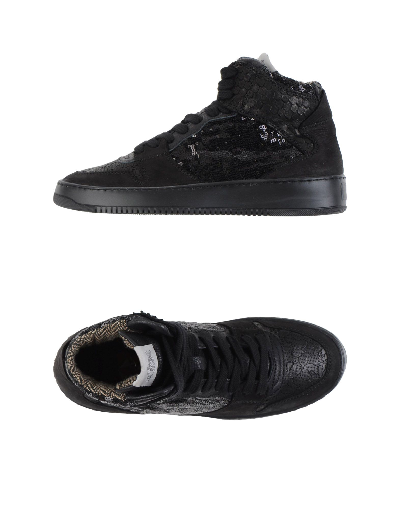 Soya fish high tops sneakers in black lyst for Shoes with fish in them