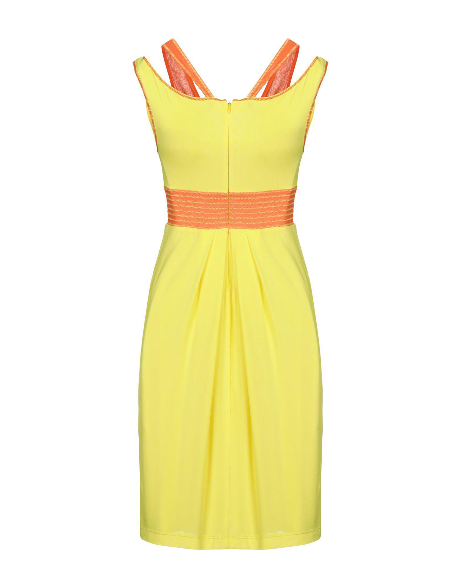 Rocco Barocco Short Dress in Yellow - Lyst 692f5899a57