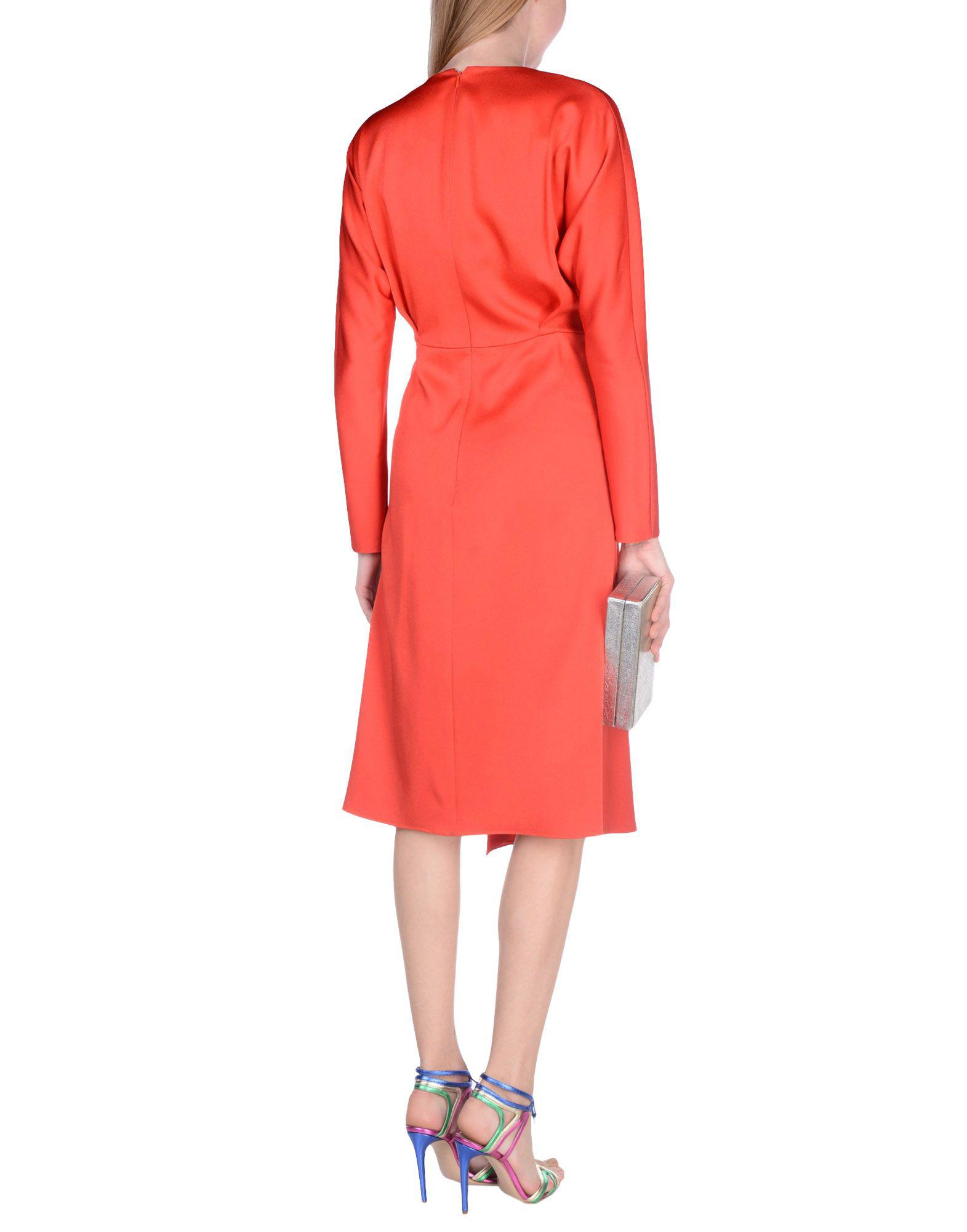 Red Knee Length Dress Victoria Beckham