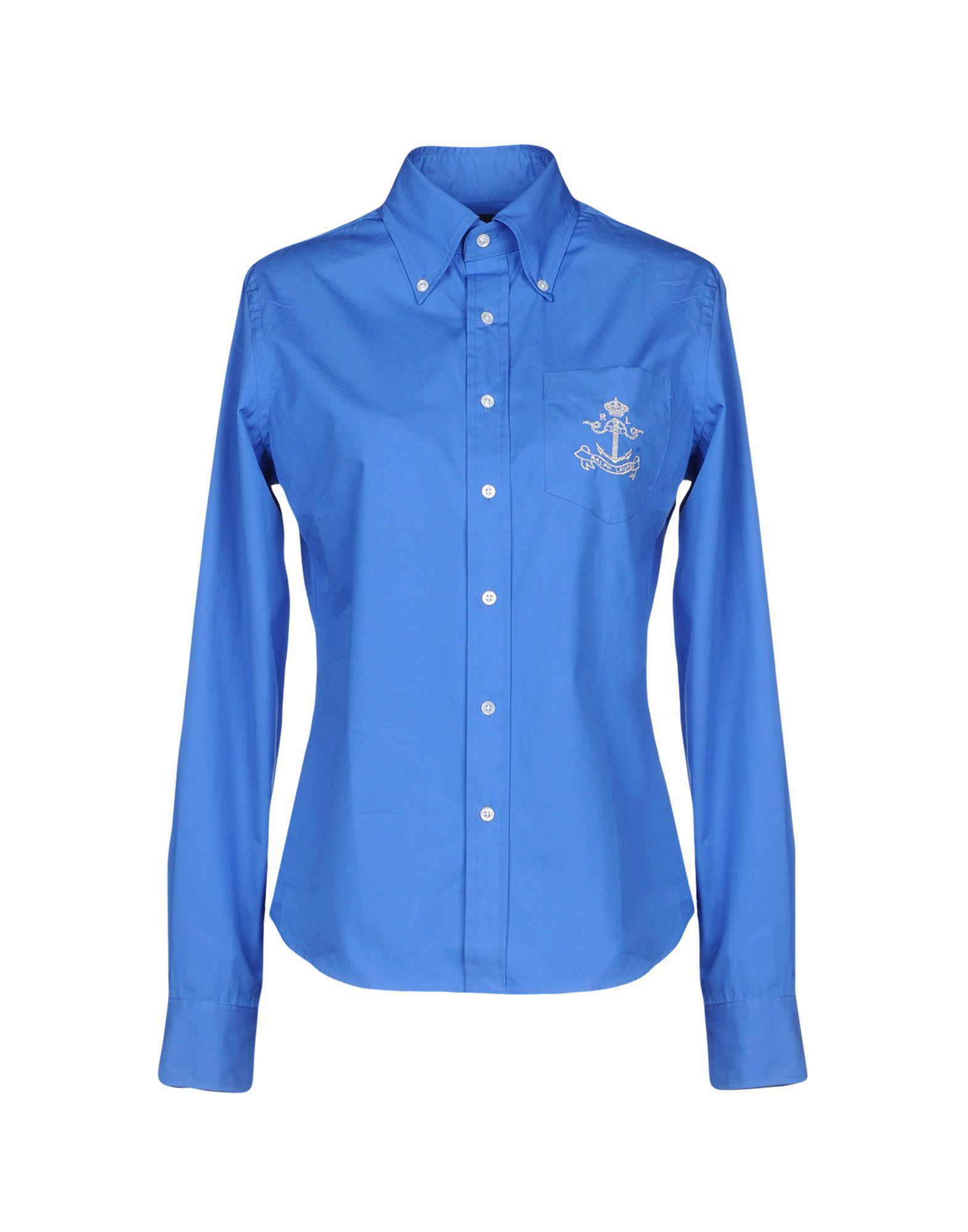 9eaa5dbb9b1e0 Ralph Lauren Black Label. Camisa de mujer de color azul