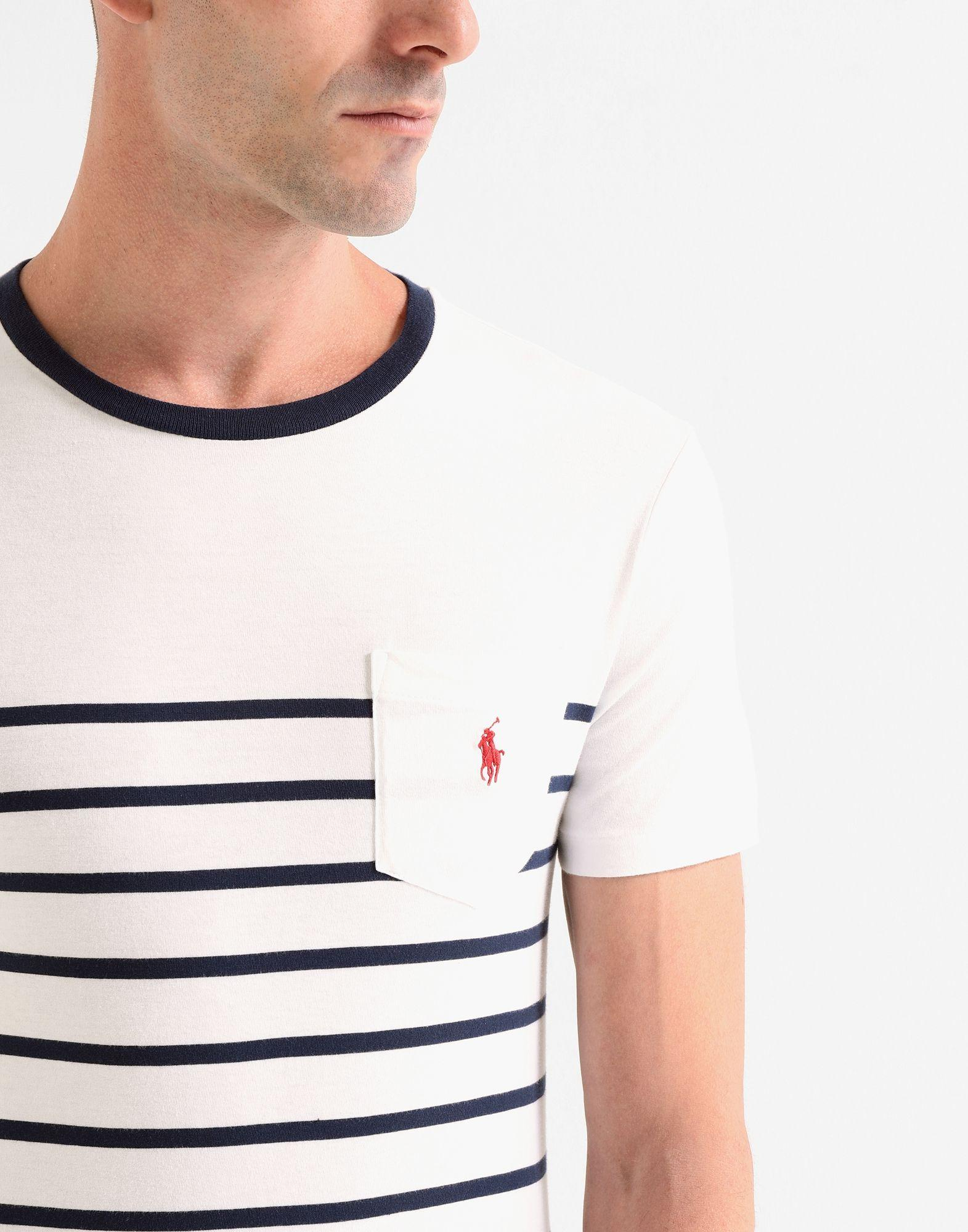 9159468af Polo Ralph Lauren Striped T-shirt in White for Men - Save 68% - Lyst