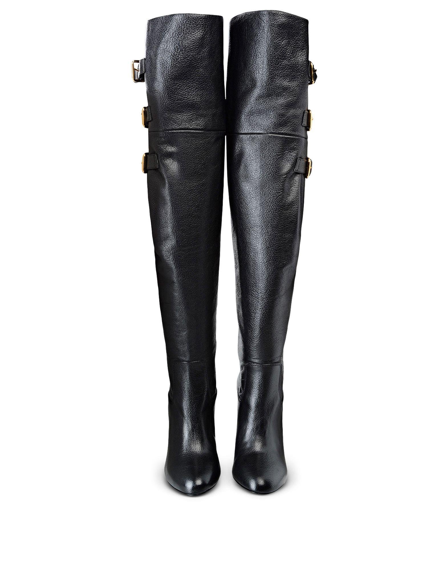 fe9d0dd8555 Boutique Moschino Buckled Goatskin Knee-High Boots in Black - Lyst