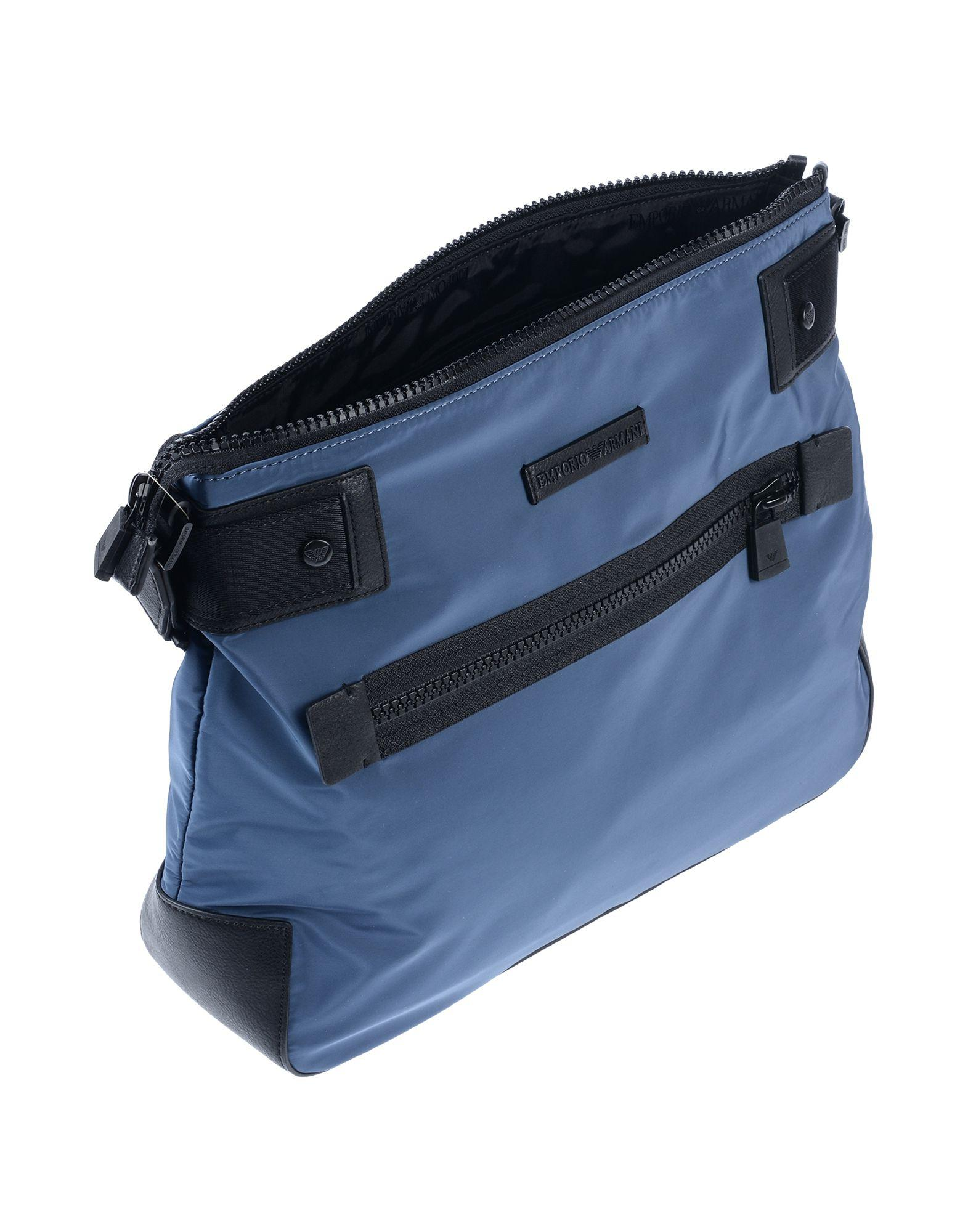 Lyst Emporio Armani Logo Strap Messenger Bag In Blue For Men 4312a69330fe8