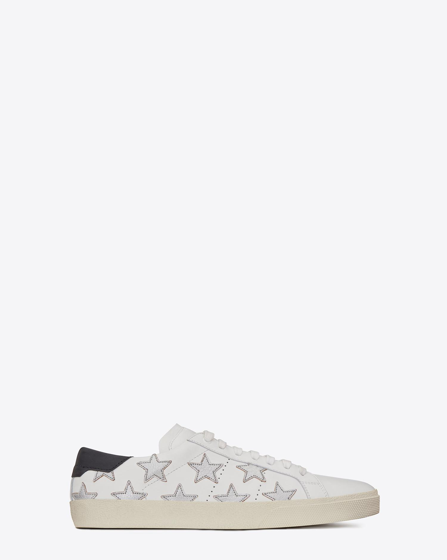 346fccf0afc Lyst - Saint Laurent Court Classic Sl/06 Metallic California Sneaker In  Leather in White for Men