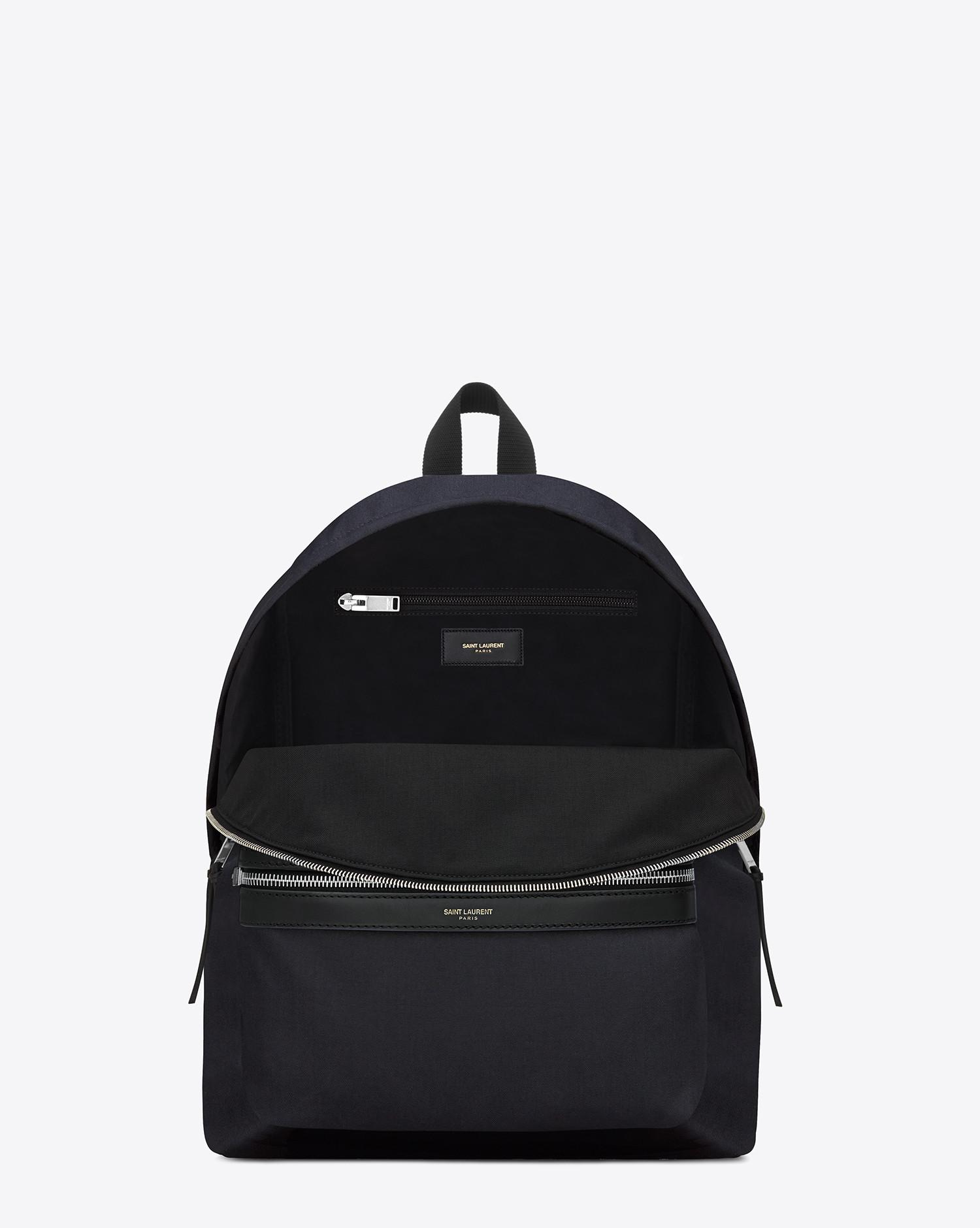 fa453a331f Lyst - Saint Laurent Classic Hunting Backpack In Navy Blue Nylon Canvas And  Black Leather in Blue for Men