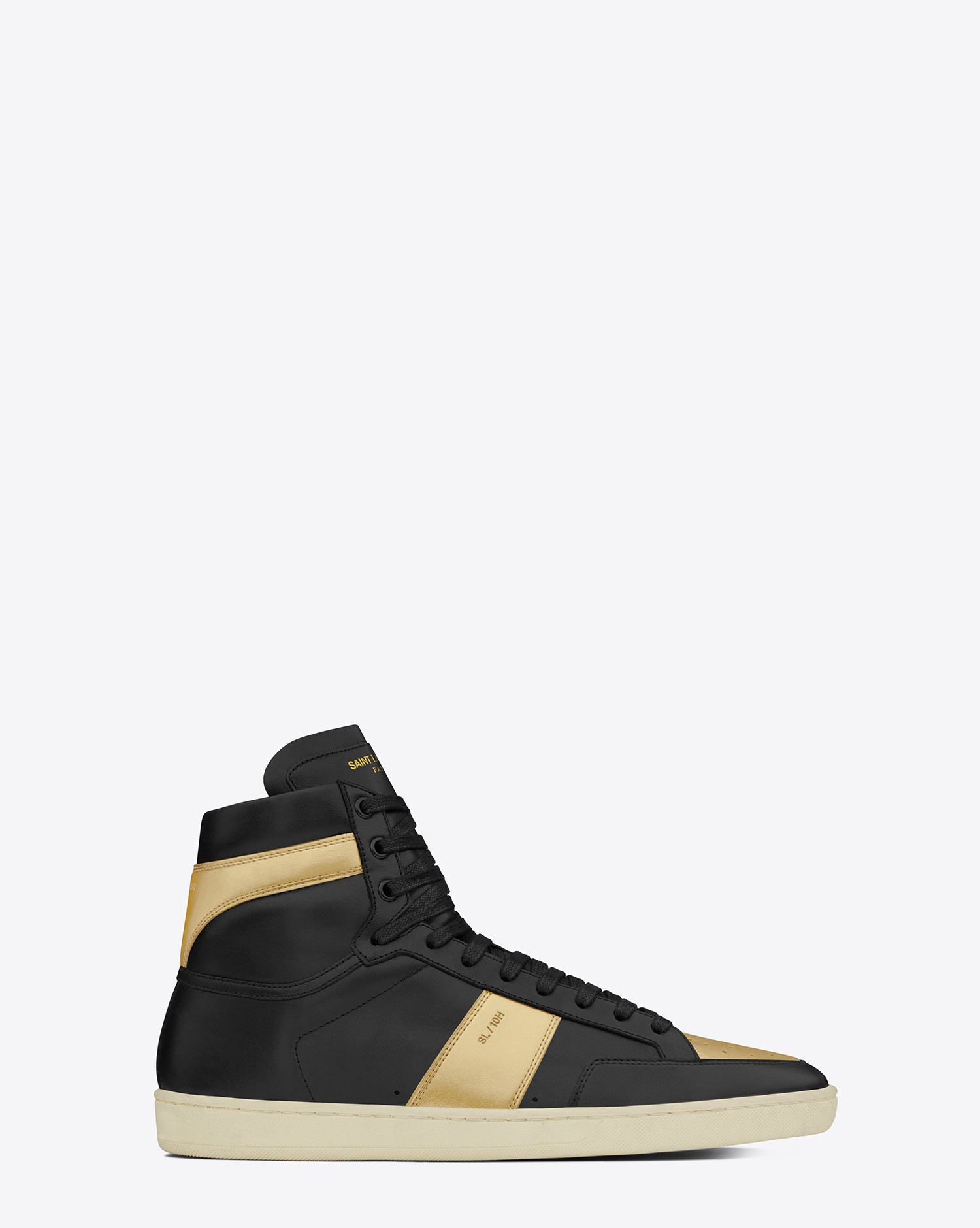 saint laurent signature court classic leather sneakers in black for men lyst. Black Bedroom Furniture Sets. Home Design Ideas