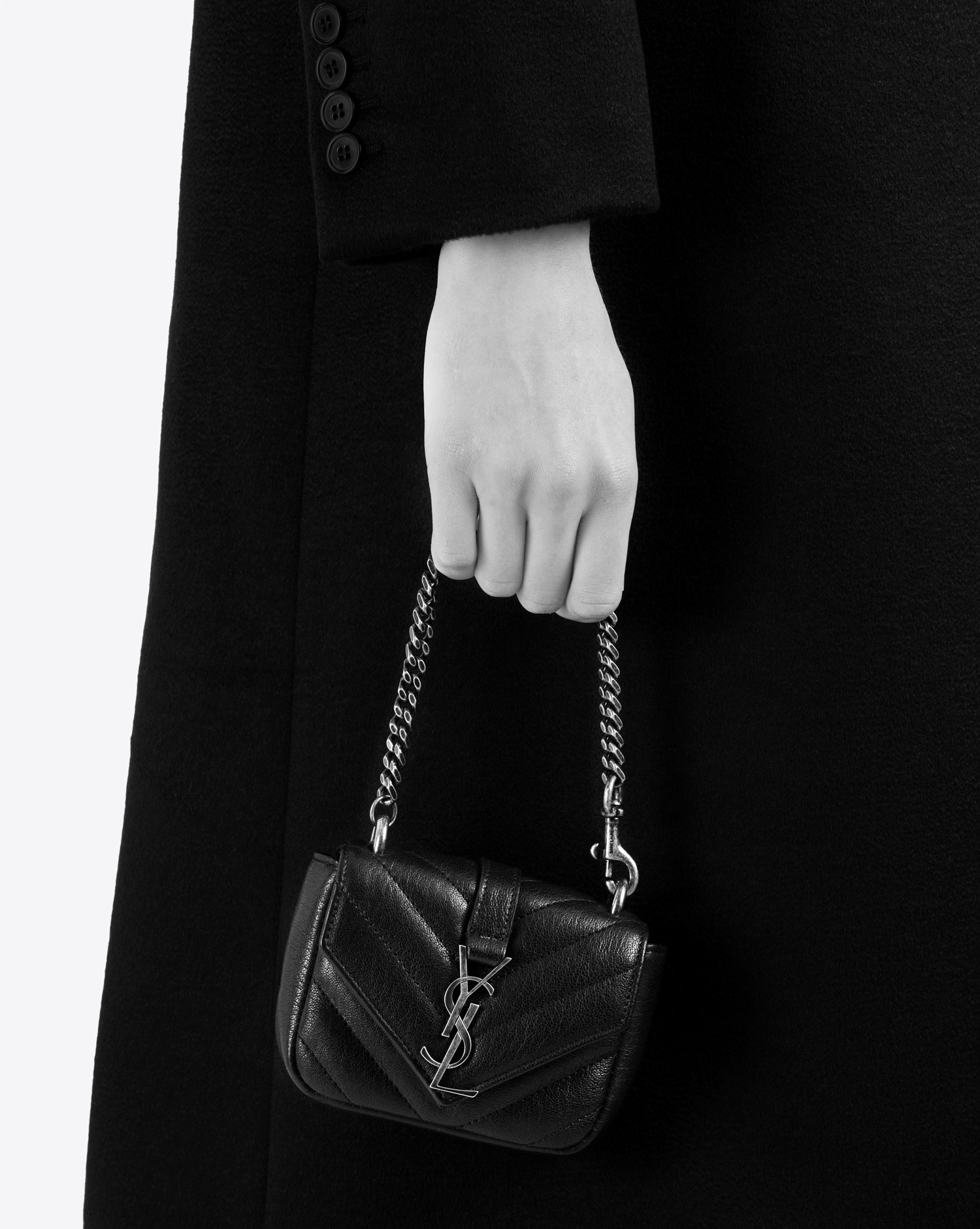 1c7105b2e854 Lyst - Saint Laurent Mini College Bag In Bordeaux Matelassé Leather