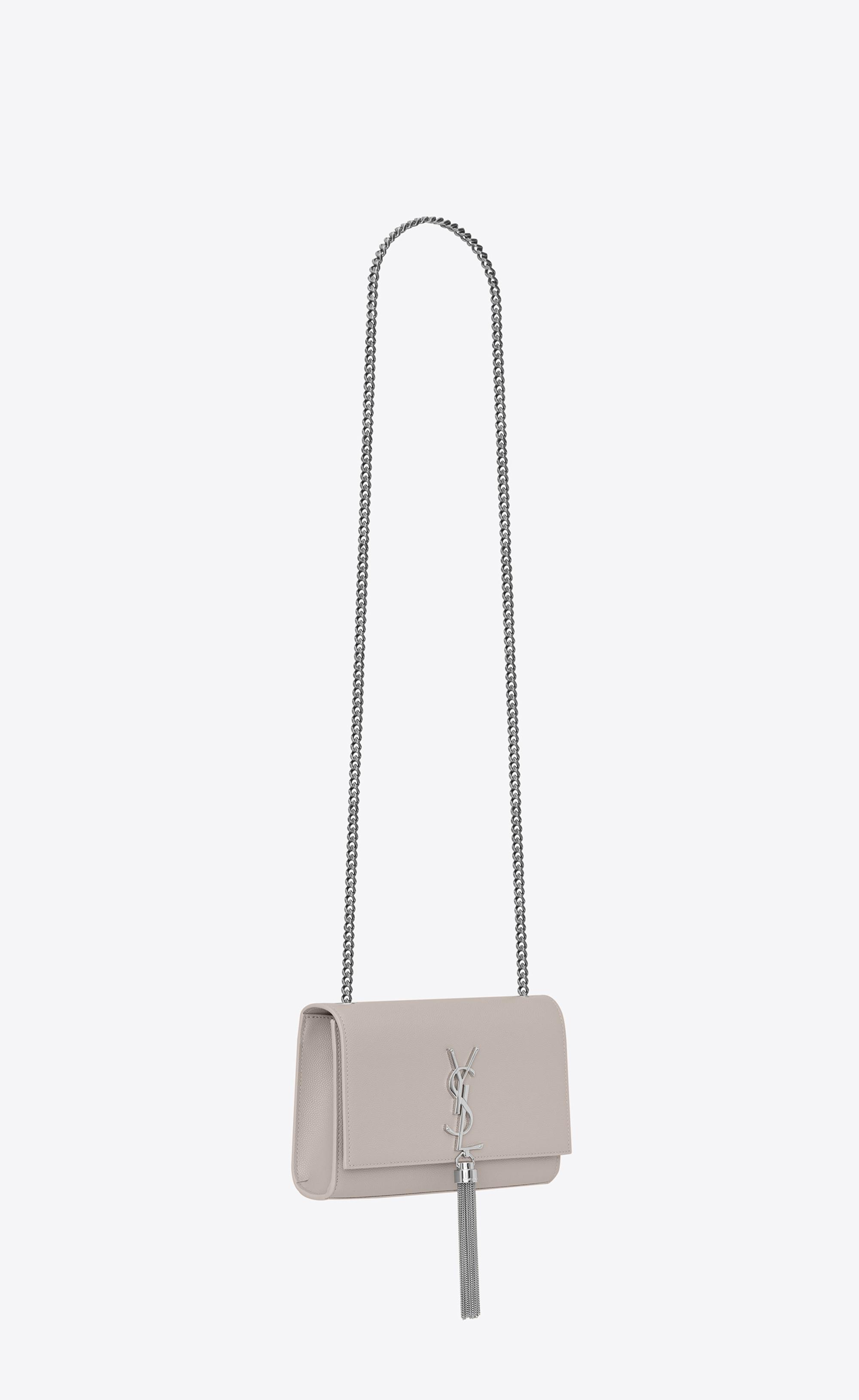 ff1b9e8ae10 Saint Laurent Kate Medium With Tassel In Grain De Poudre Embossed Leather  in White - Save 9% - Lyst