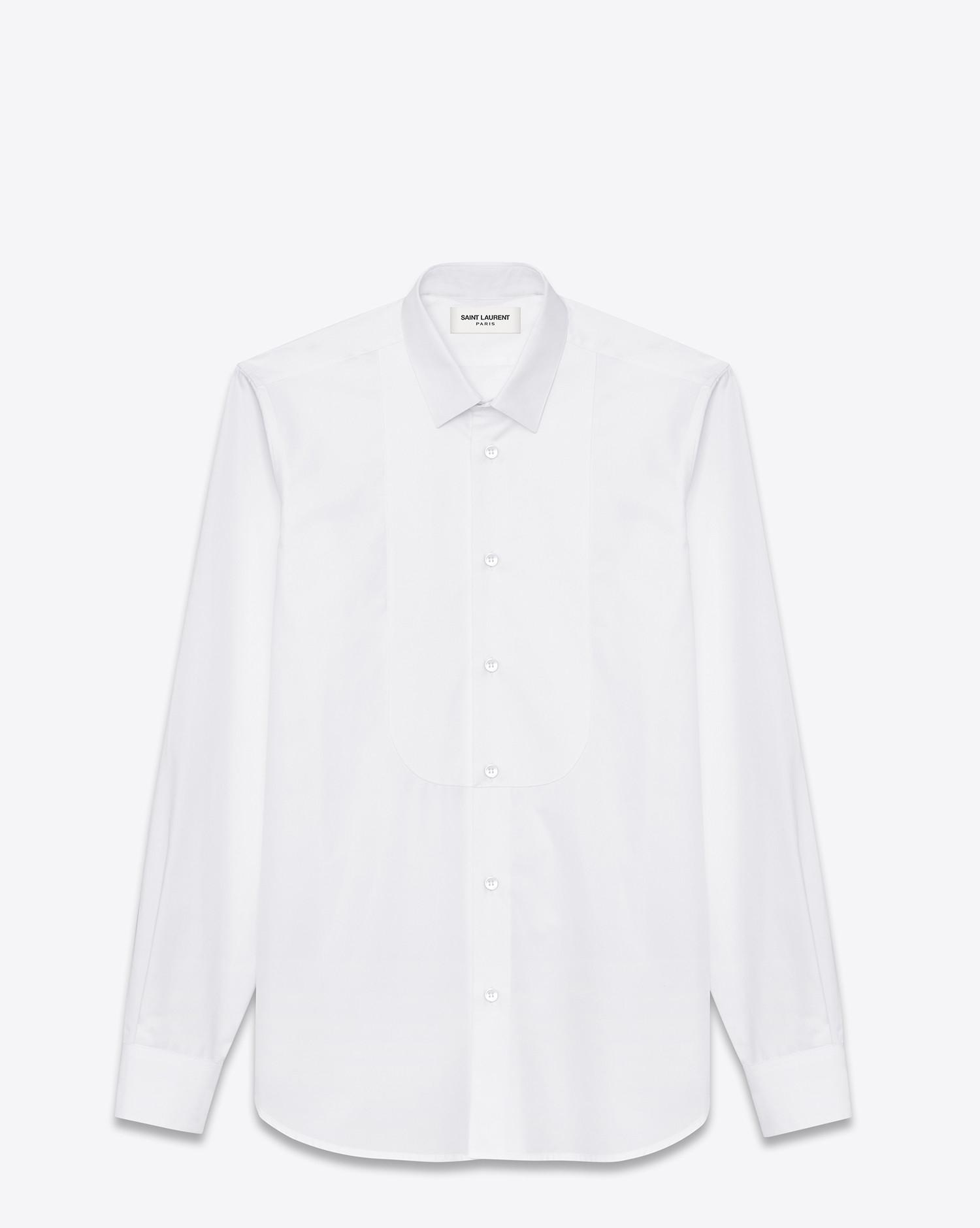Saint laurent pique plastron yves collar shirt in white for Yves saint laurent white t shirt