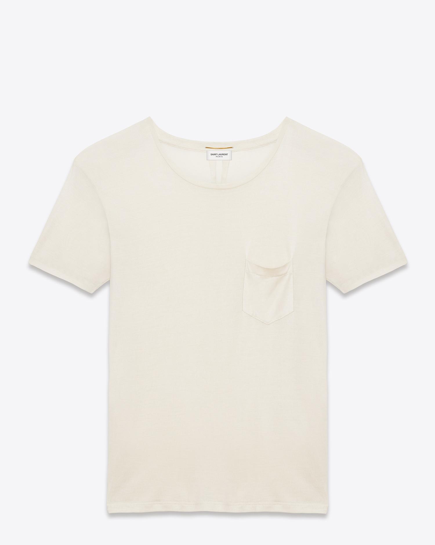 e5433d085395 Lyst - Saint Laurent Classic Short Sleeve Pocket T Shirt In Ivory ...