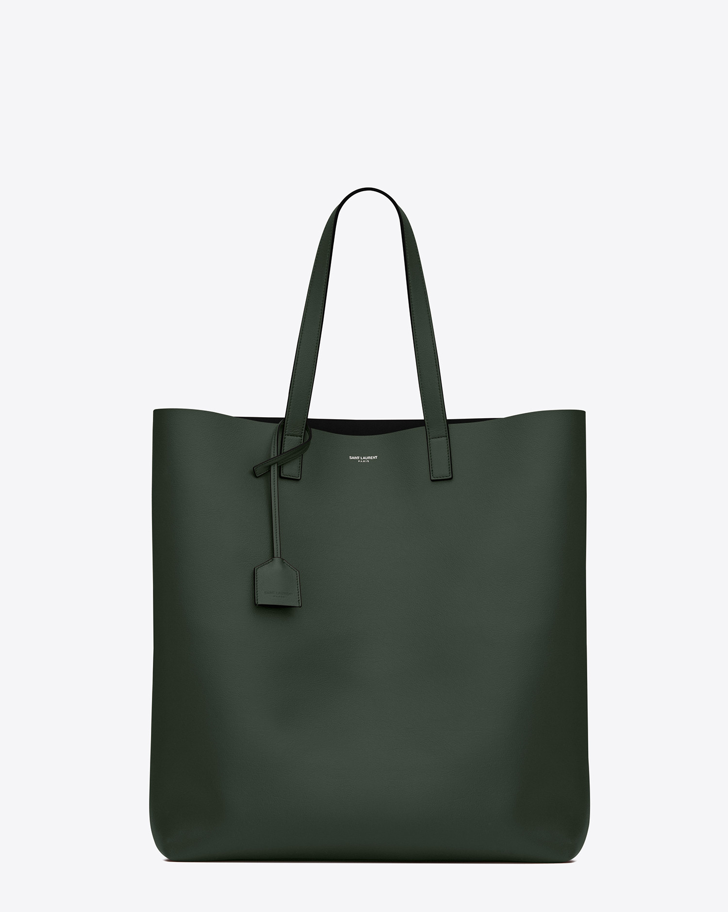 lyst saint laurent shopping tote bag in dark green and black leather in green. Black Bedroom Furniture Sets. Home Design Ideas
