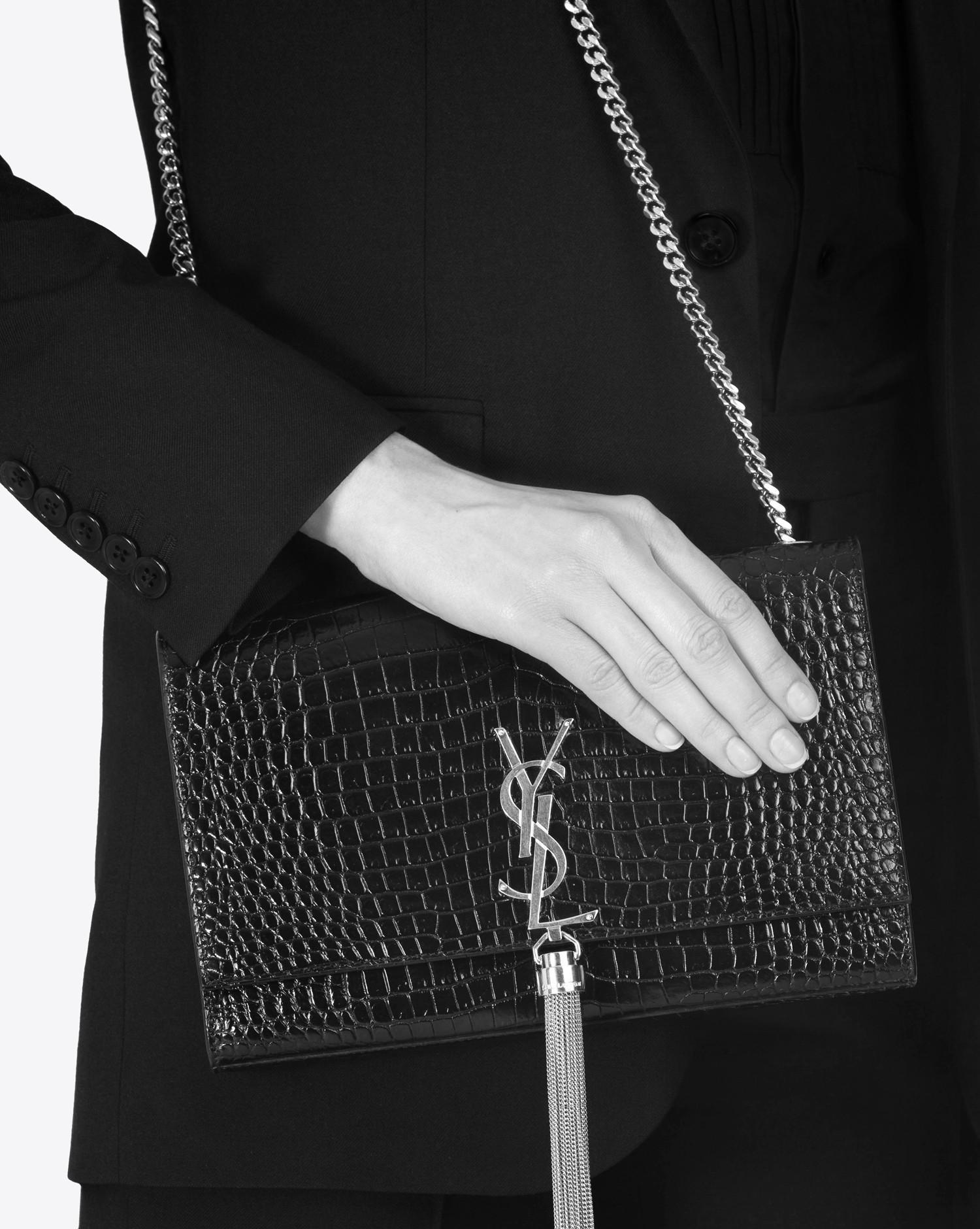 fbdb0e2d77 Saint Laurent Classic Medium Kate Monogram Croc-Embossed Leather ...